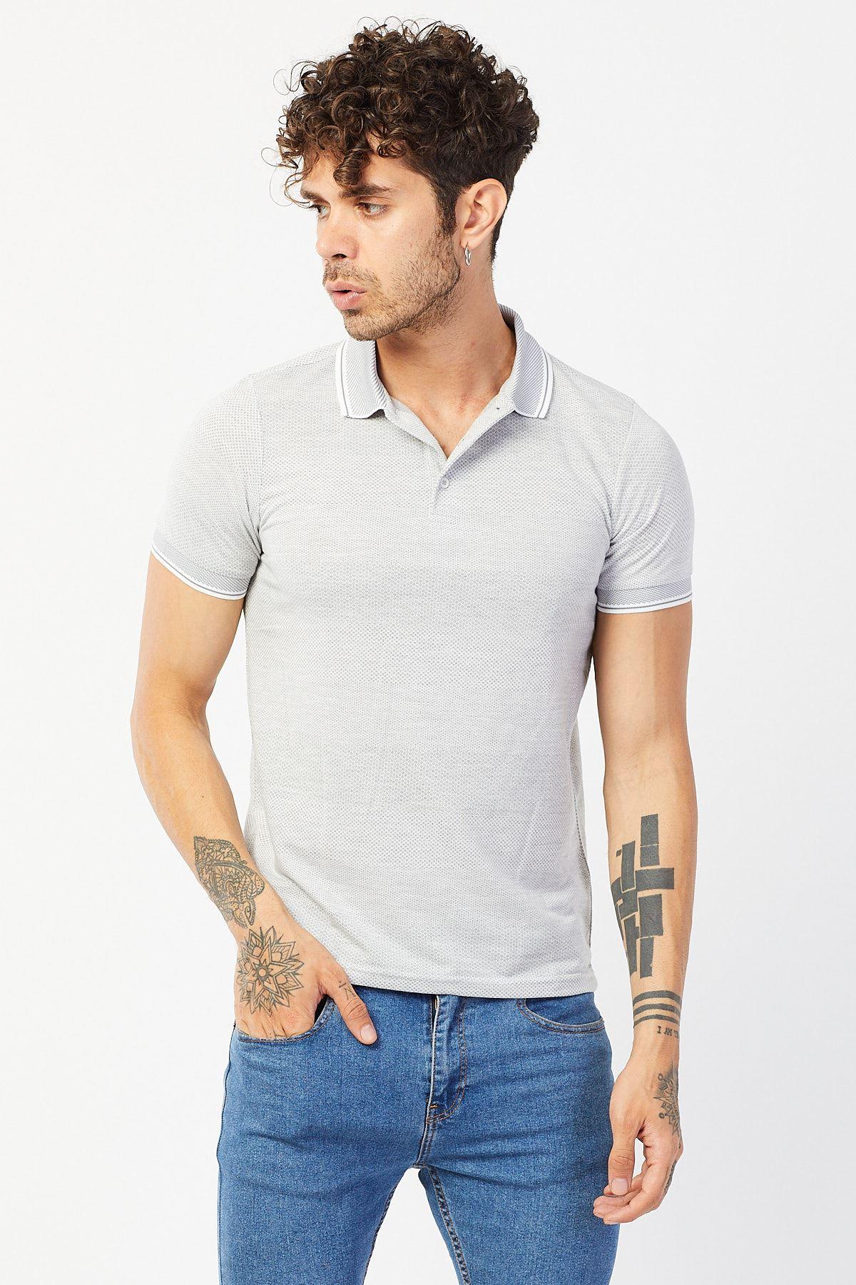 Polo Yaka Jakarlı T-shirt