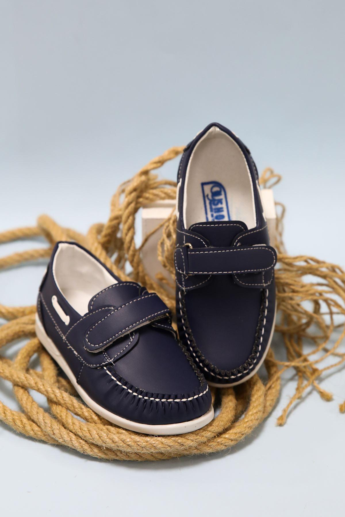 Lacivert  Cırtlı Erkek Bebe Ayakkabı