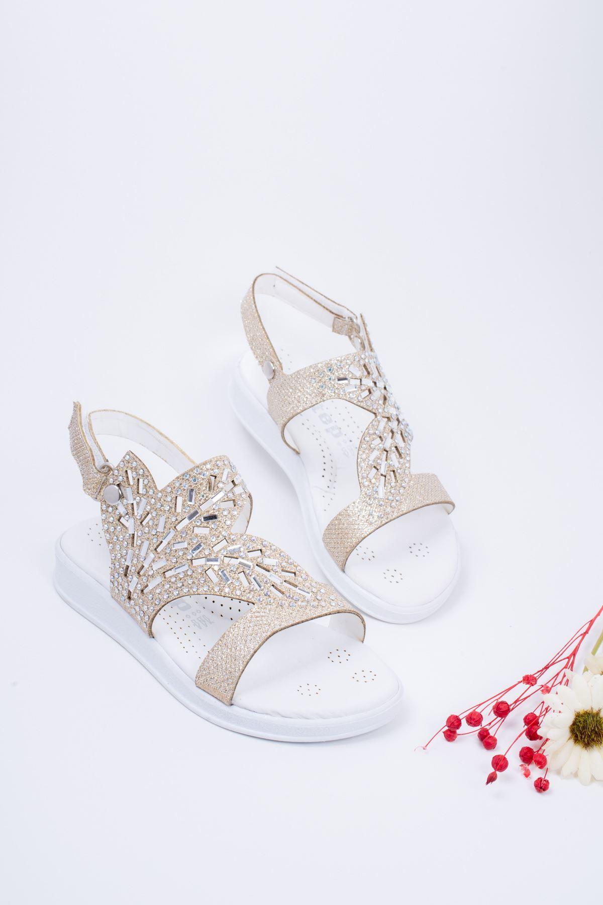 Taşlı Altın Çocuk Sandalet