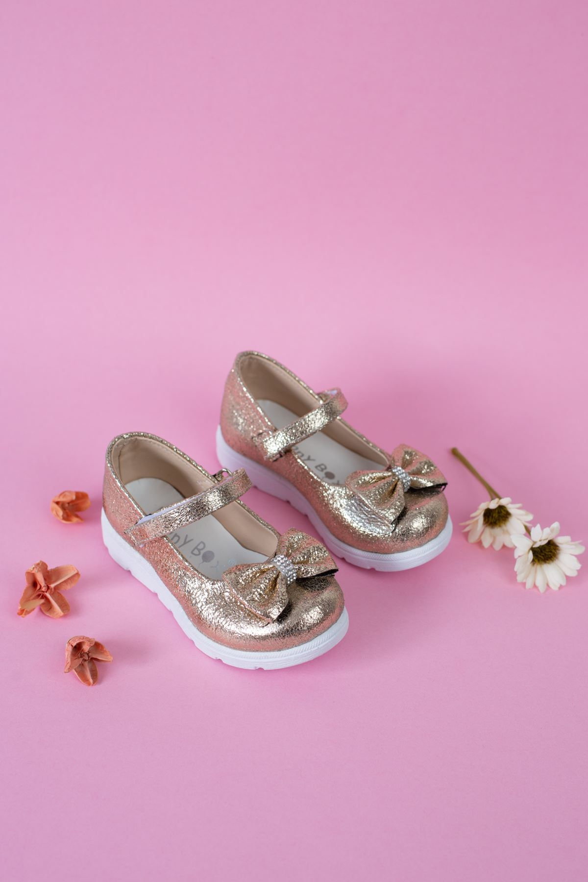 Poli Taban Çatlak Altın  Bebe Ayakkabı
