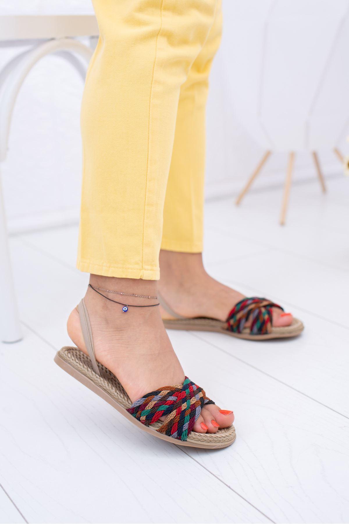 Çapraz Bant Çok Renkli Sandalet