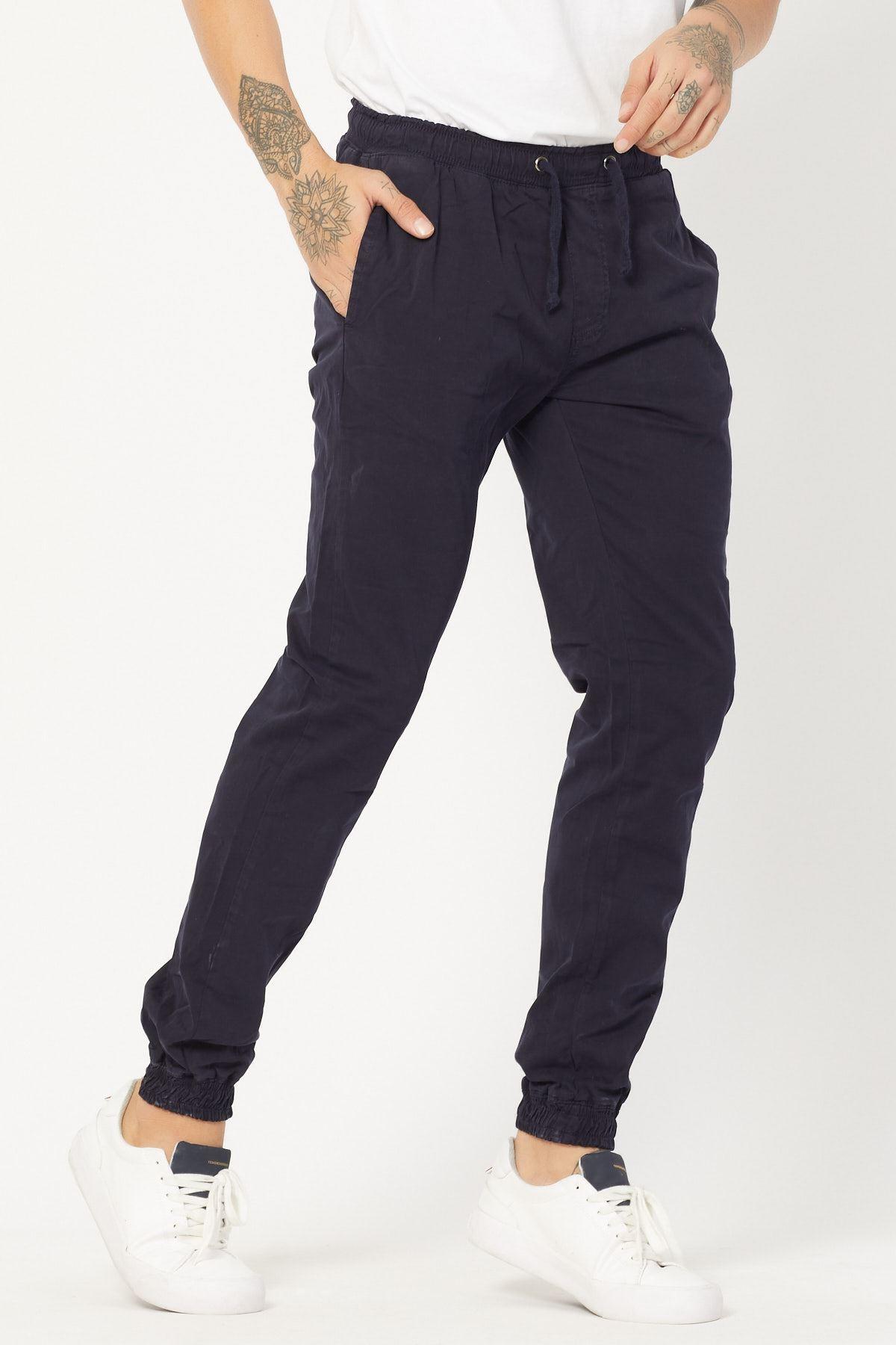 Paçası Lastikli Lacivert Pantolon