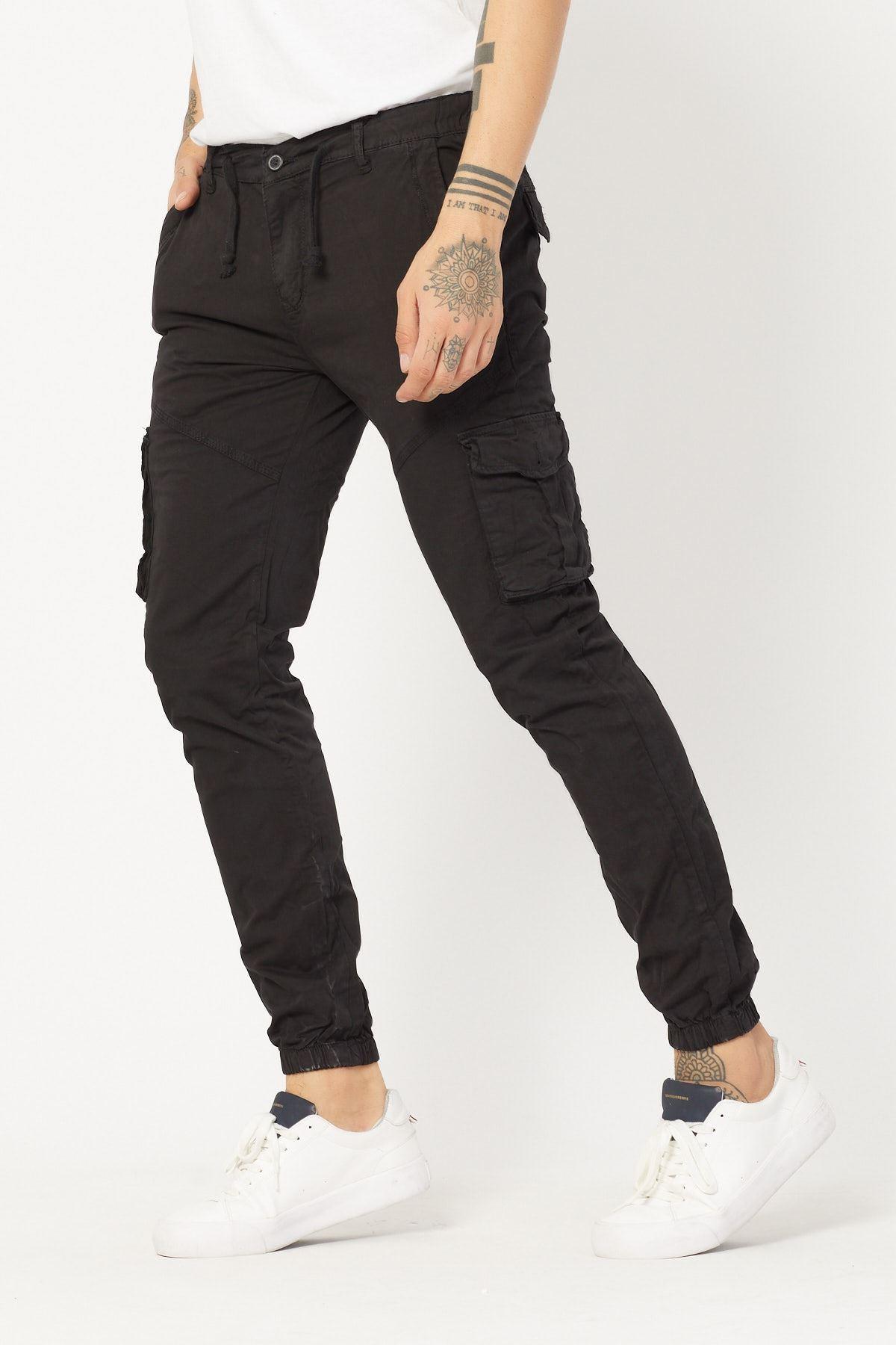 Kargo Cepli Siyah Keten Pantolon