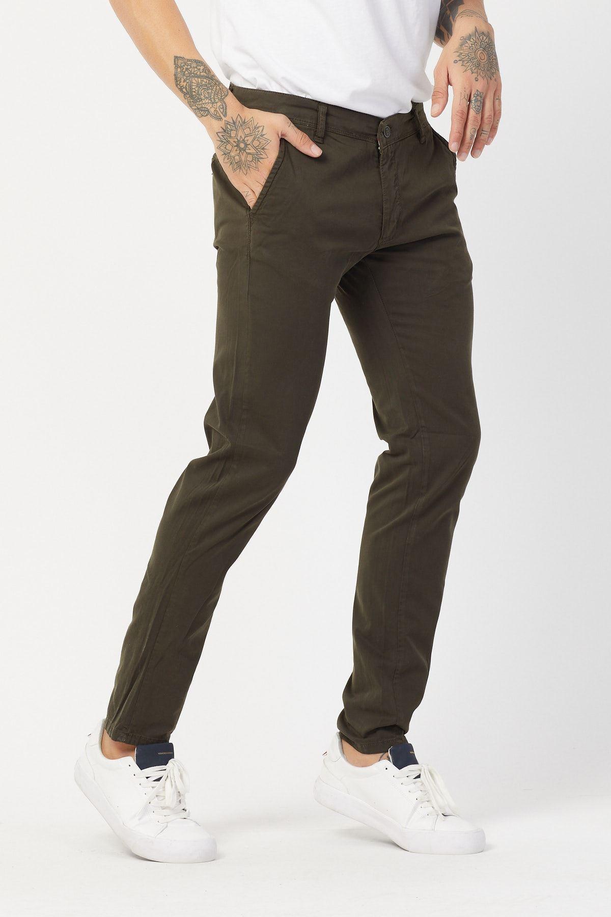 Yandan Cepli Haki Keten Pantolon