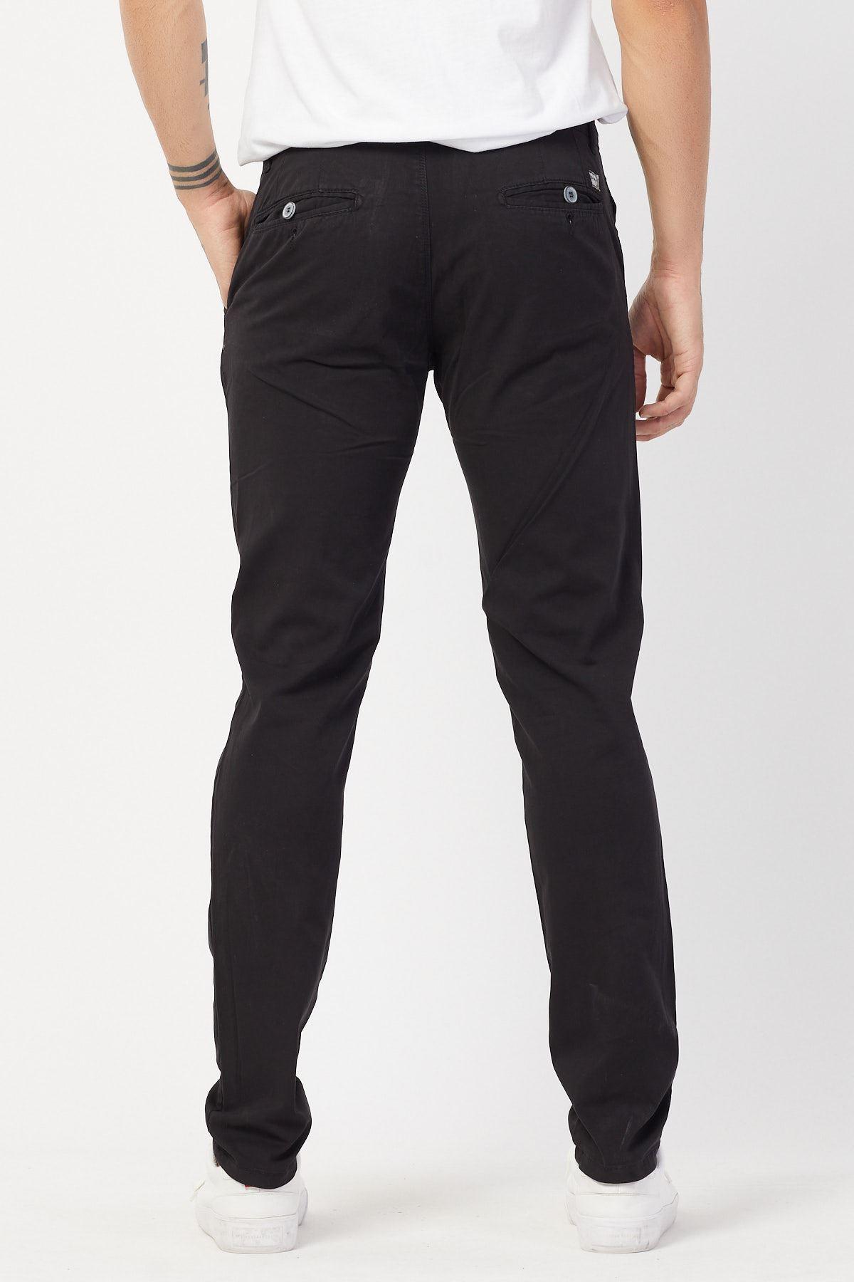 Yandan Cepli Siyah Keten Pantolon