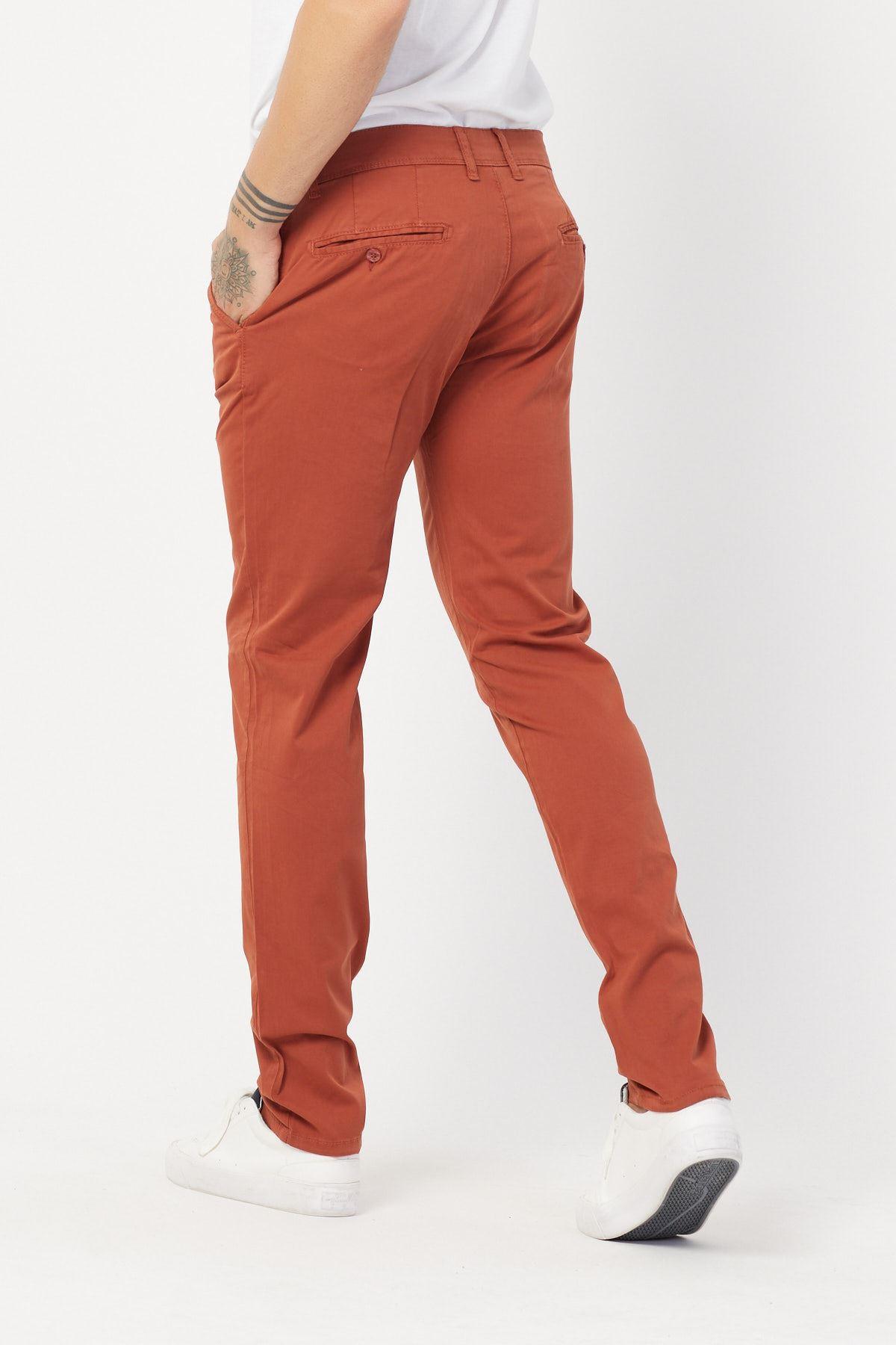 Yandan Cepli Kiremit Keten Pantolon