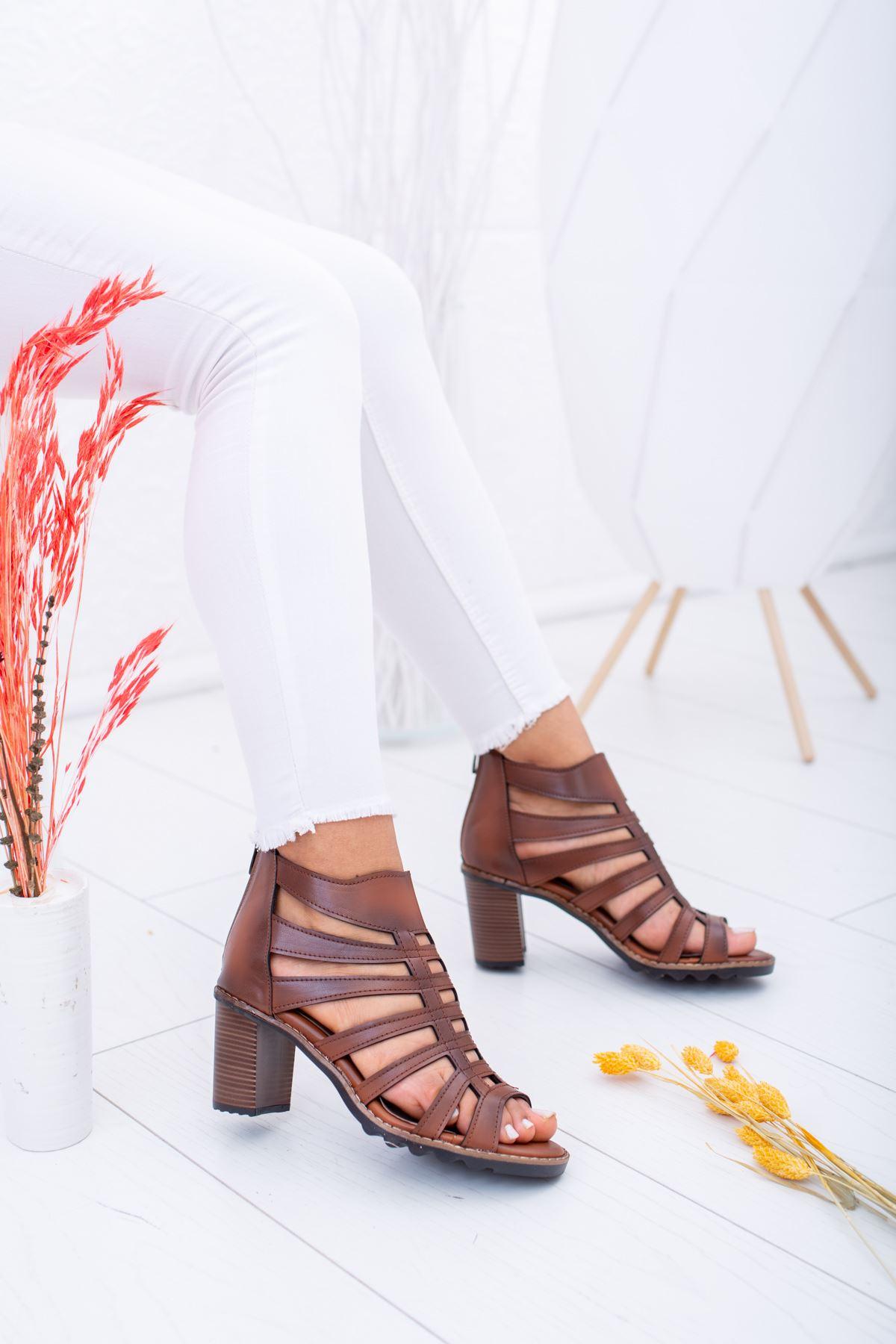 Kafes Model Taba Ökçeli Sandalet