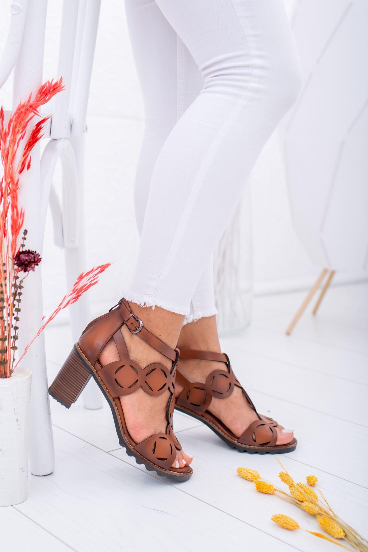 Lazerli Taba Ökçeli Sandalet