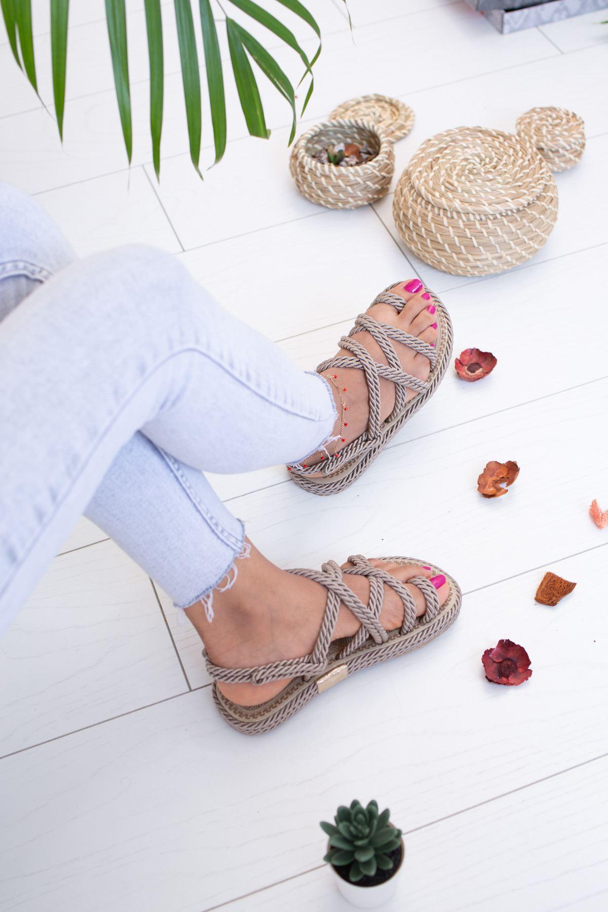 Halatlı Vizon Sandalet