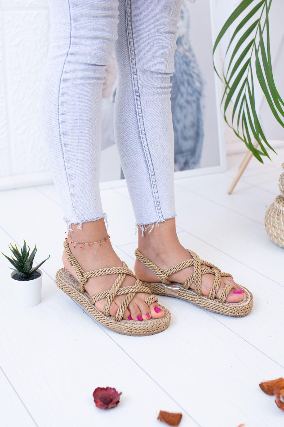 Halatlı Altın Sandalet
