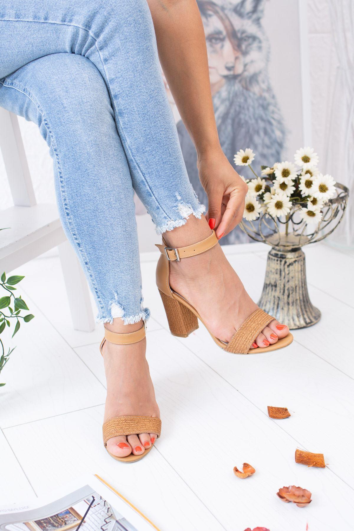 Hasır Nude Ökçeli Sandalet