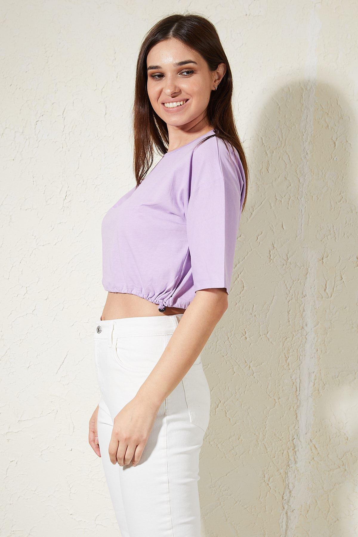 Lastikli Kadın T-shirt