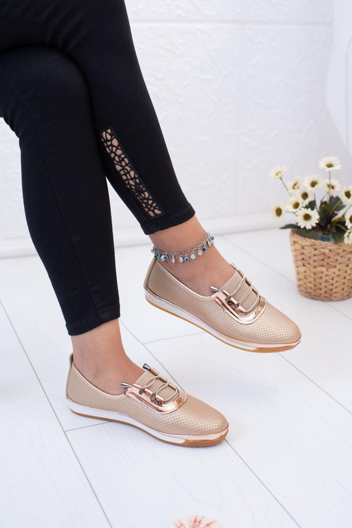 Altın Ortopedik Pedli Ayakkabı