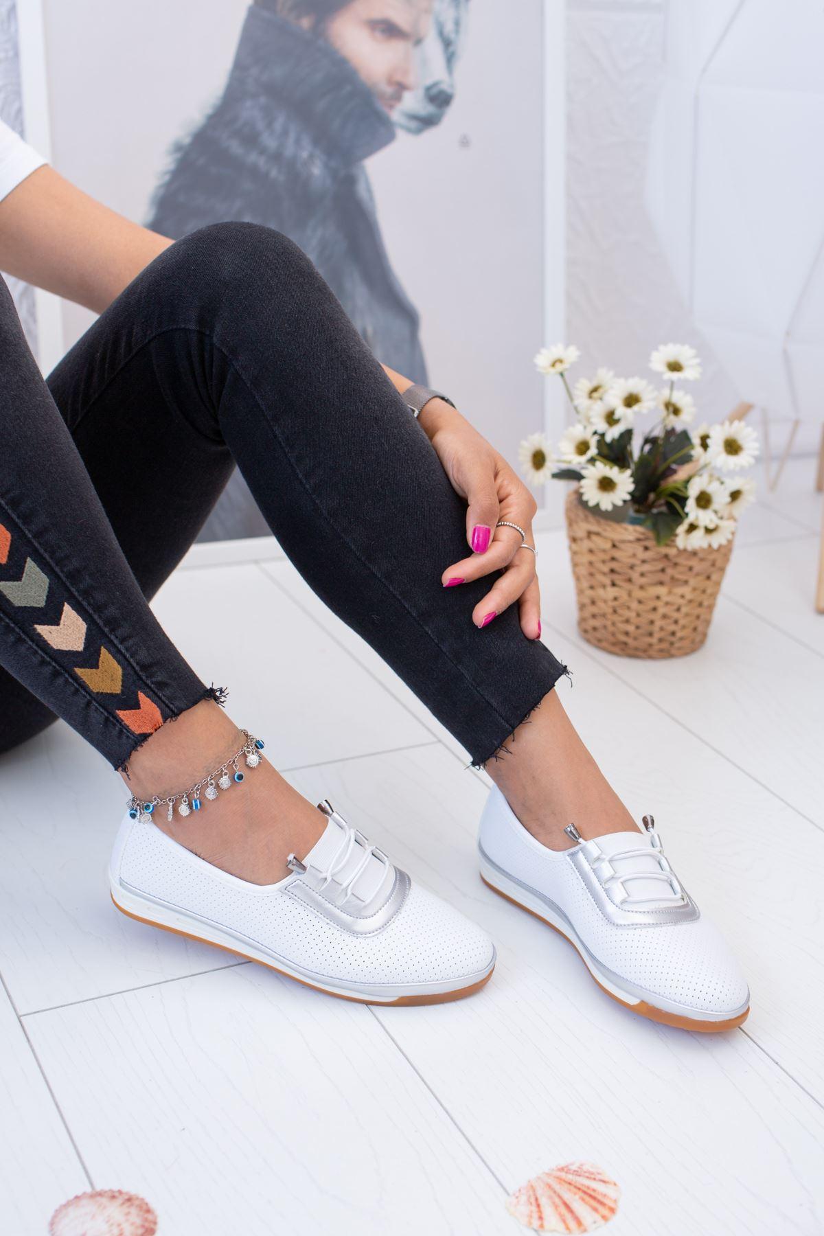 Ortopedik Pedli Beyaz Ayakkabı