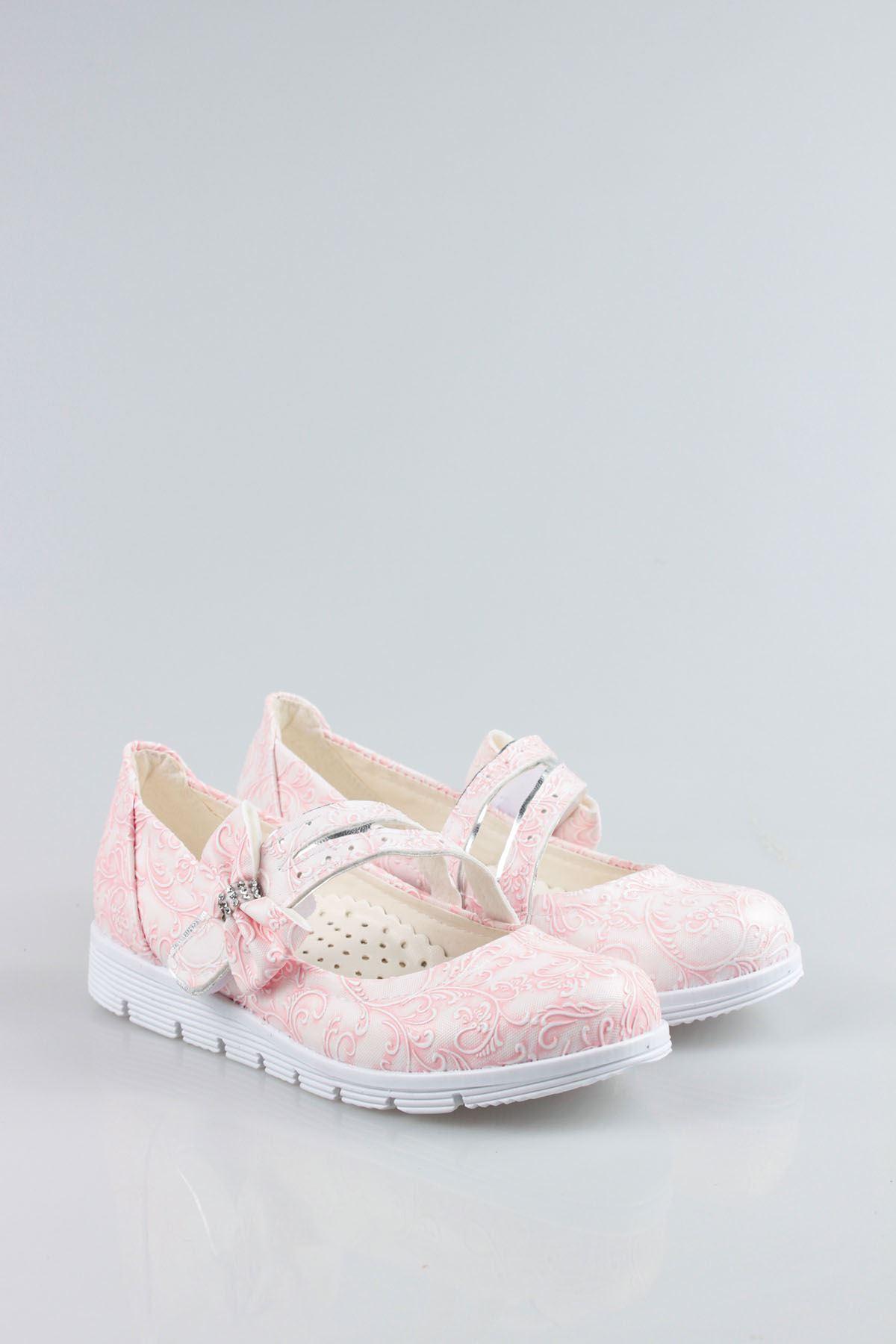 Termo Taban Çatallı Fiyonklu Pembe Sarmaşık Kız Çocuk Ayakkabı