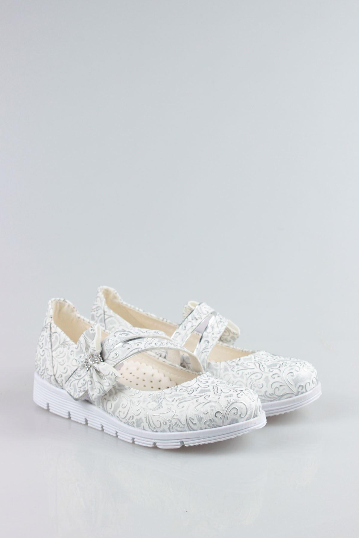 Termo Taban Çatallı Fiyonklu Gri Beyaz Sarmaşık Kız Çocuk Ayakkabı