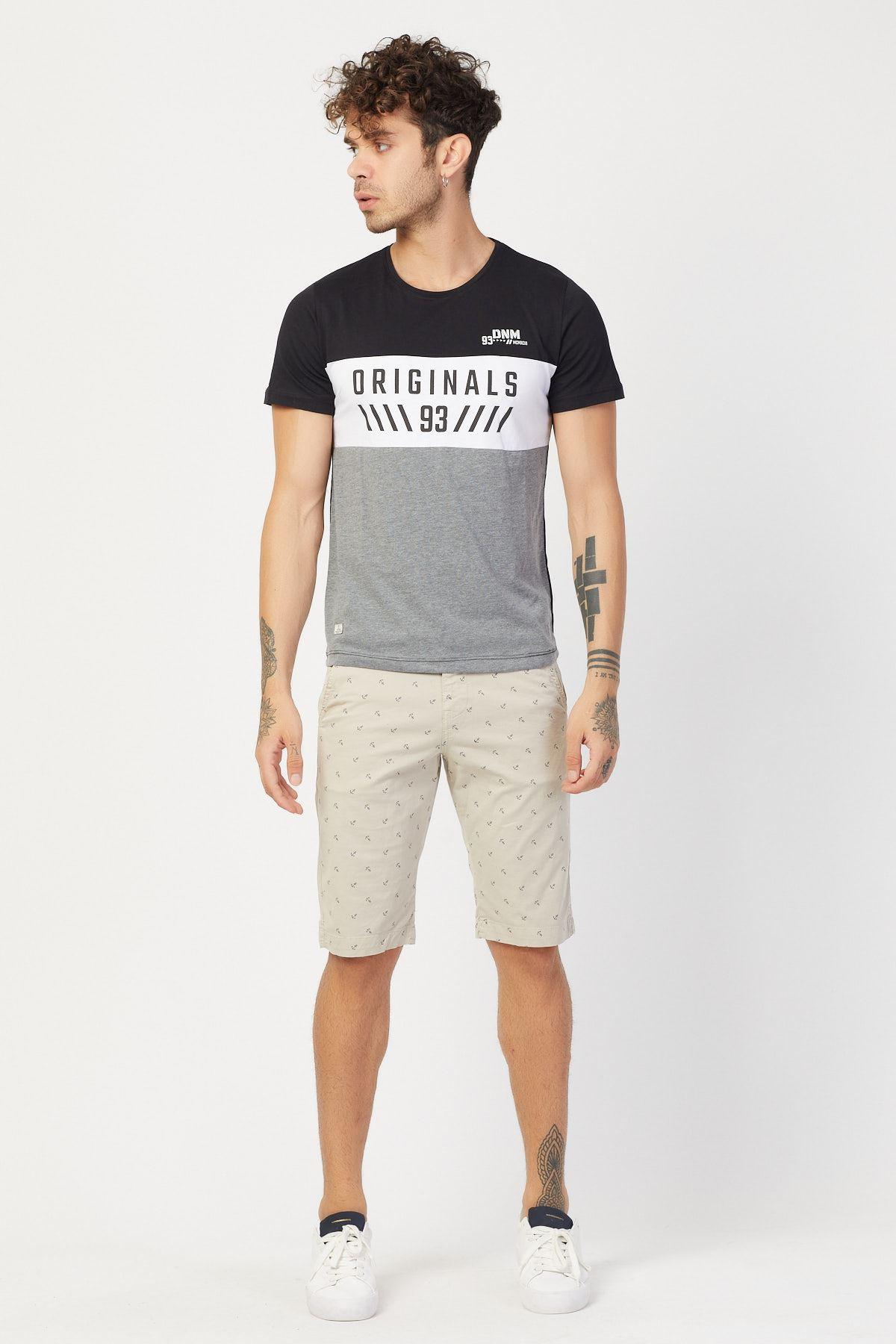 Sıfır Yaka Parçalı T-shirt