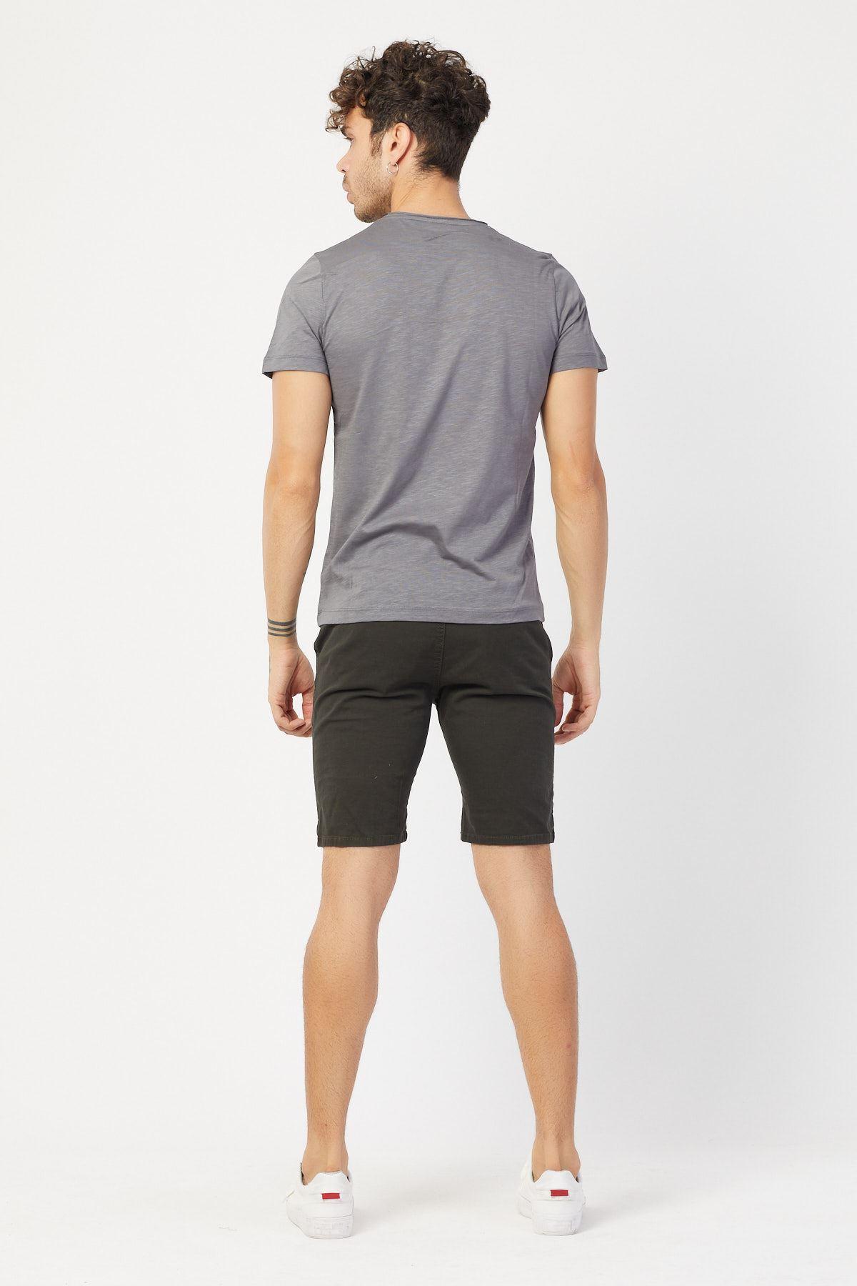 Bisiklet Yaka Baskılı T-shirt