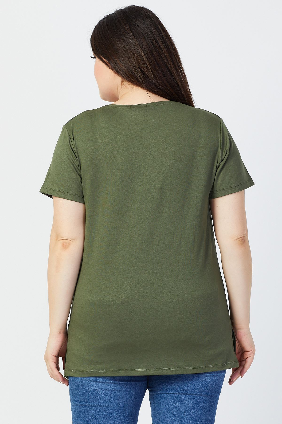 Büyük Beden Taşlı Penye Kadın T-shirt