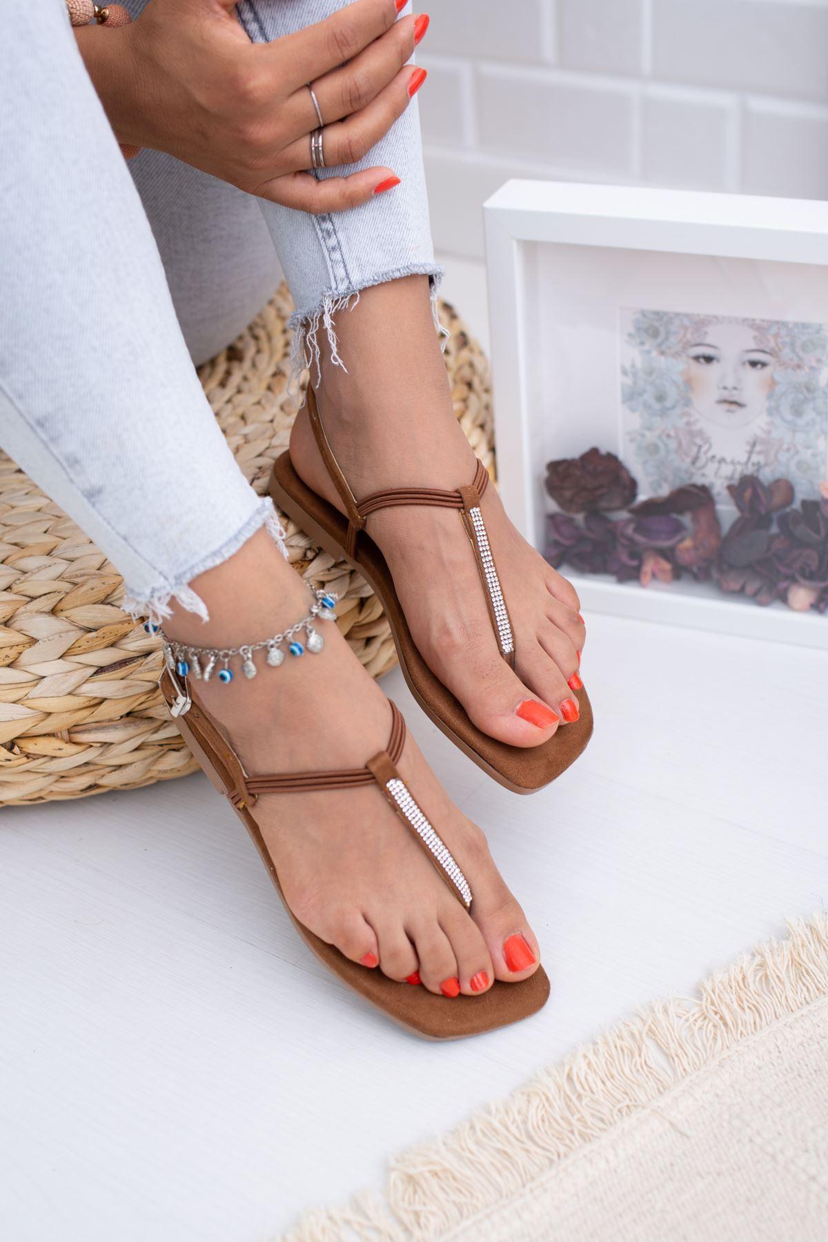 İnce Taşlı Taba Süet Sandalet