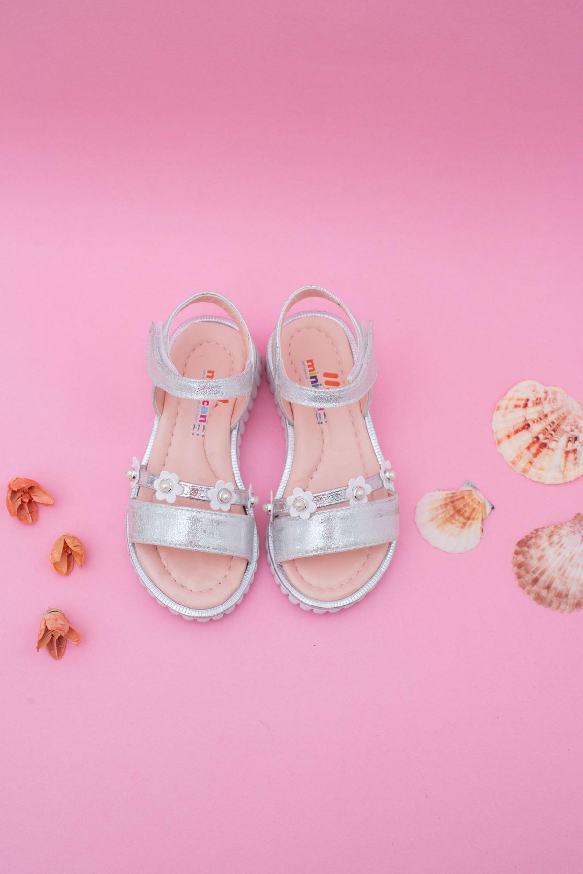 Papatyalı Kız Çocuk Sandalet