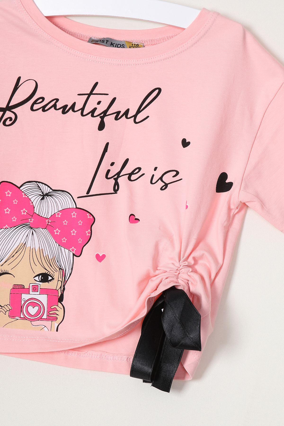 Yanı Büzgülü Baskılı Kız Çocuk T-shirt