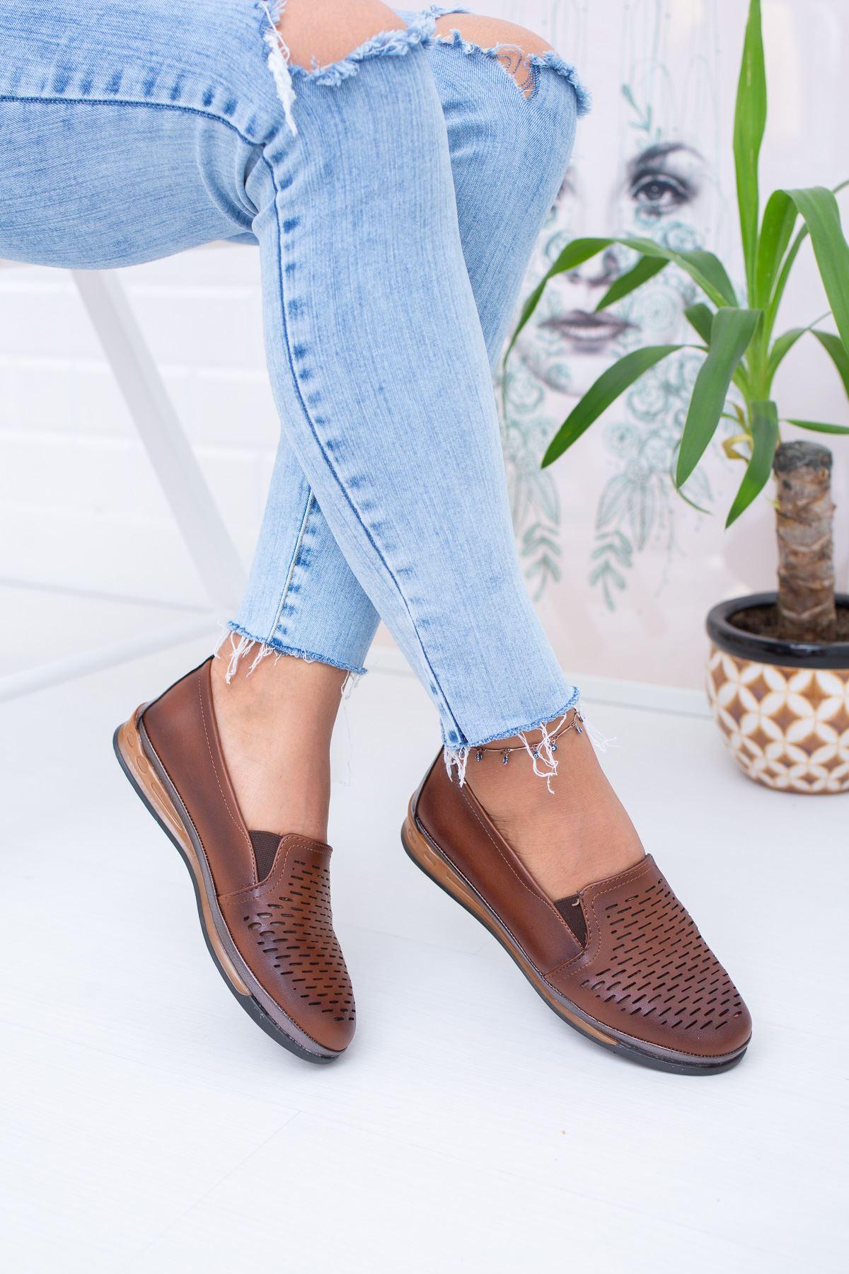 Ortopedik İçi Deri Taba Ayakkabı