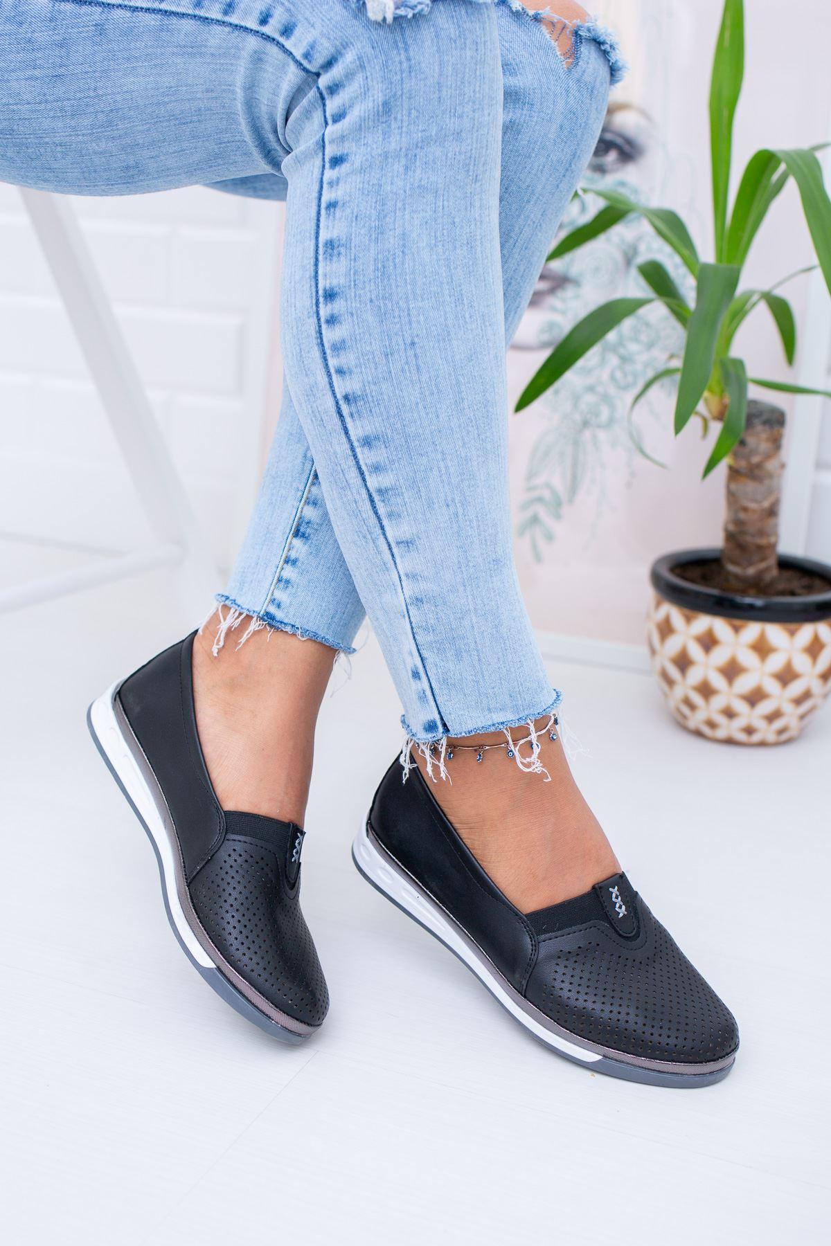 Ortopedik İçi Deri Siyah Ayakkabı