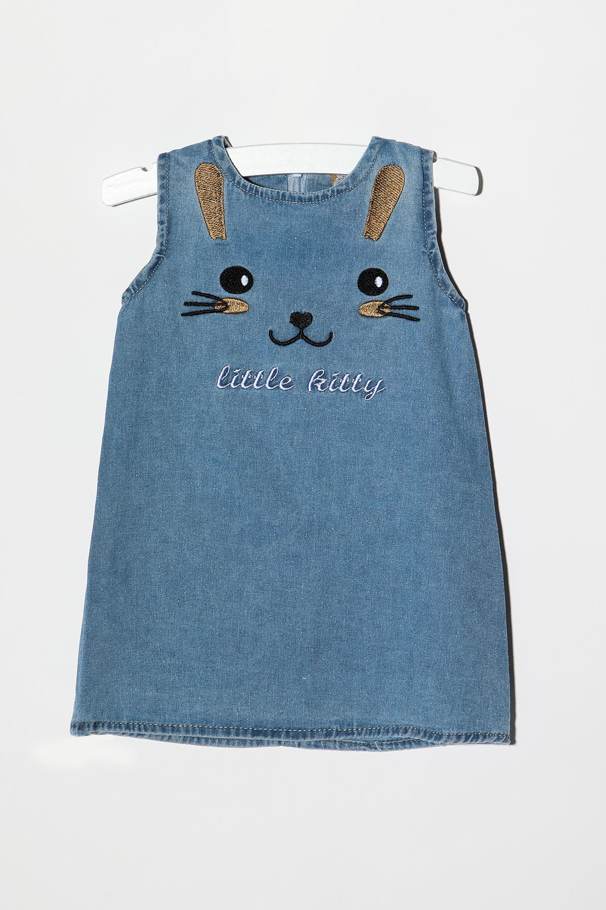 Nakışlı Kot Elbise