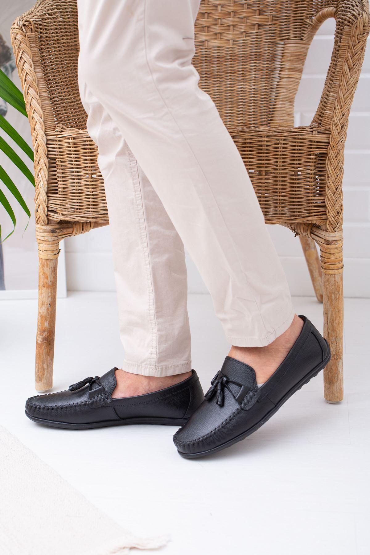 Ortopedik Pedli Siyah Deri Ayakkabı