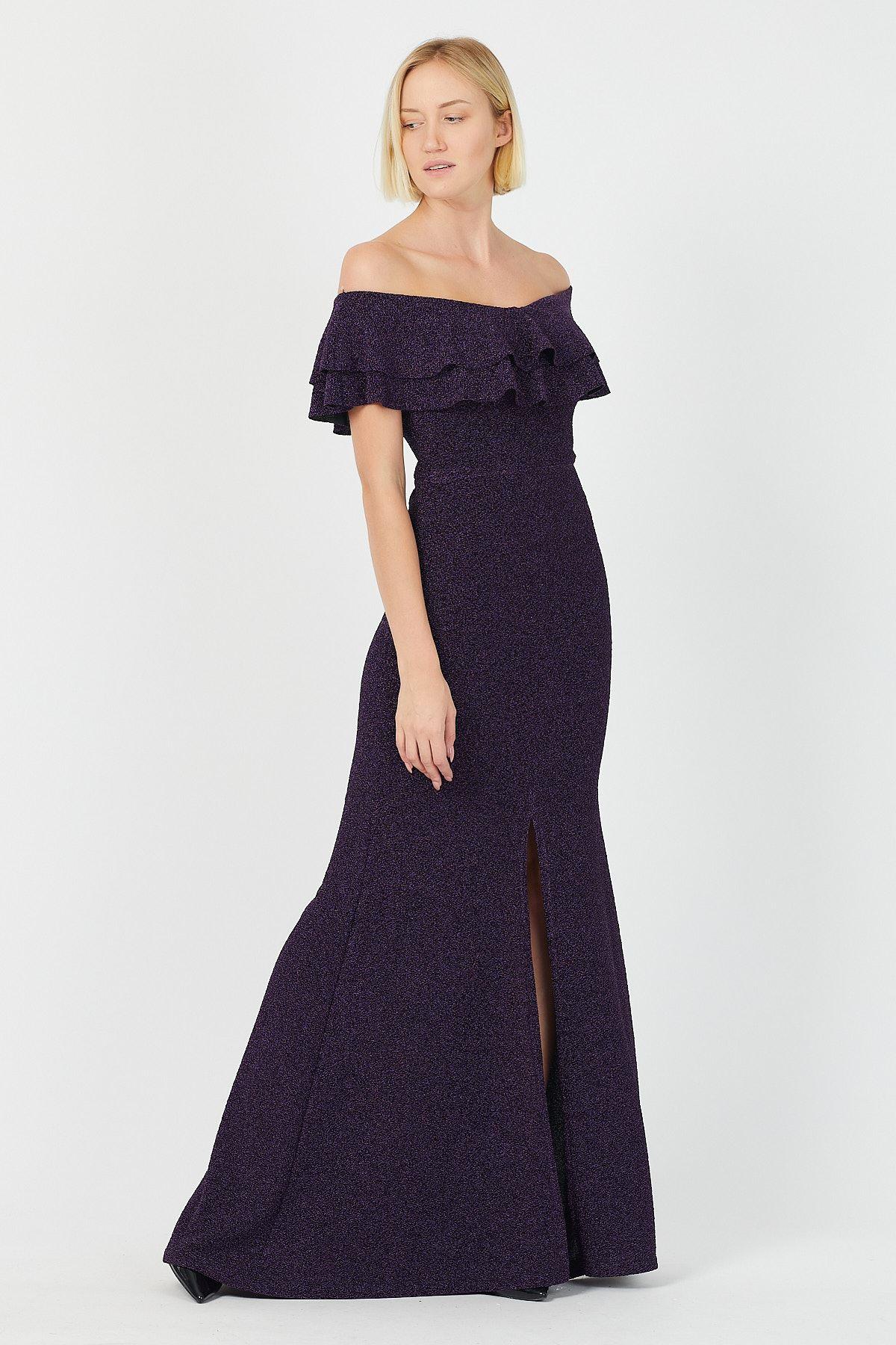 Göğsü Volanli Simli Uzun Elbise