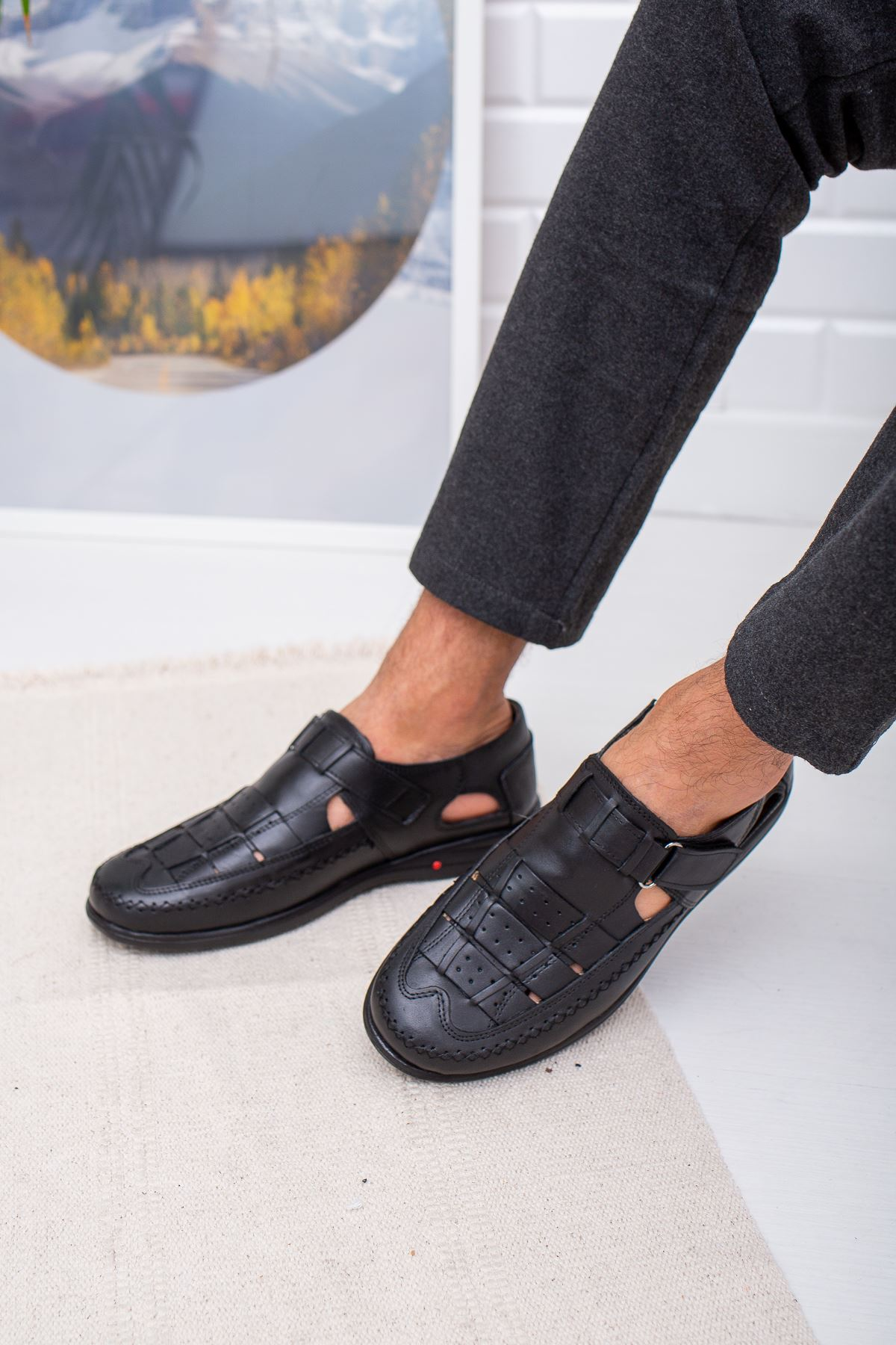 Ortopedik Pedli  Deri Sandalet