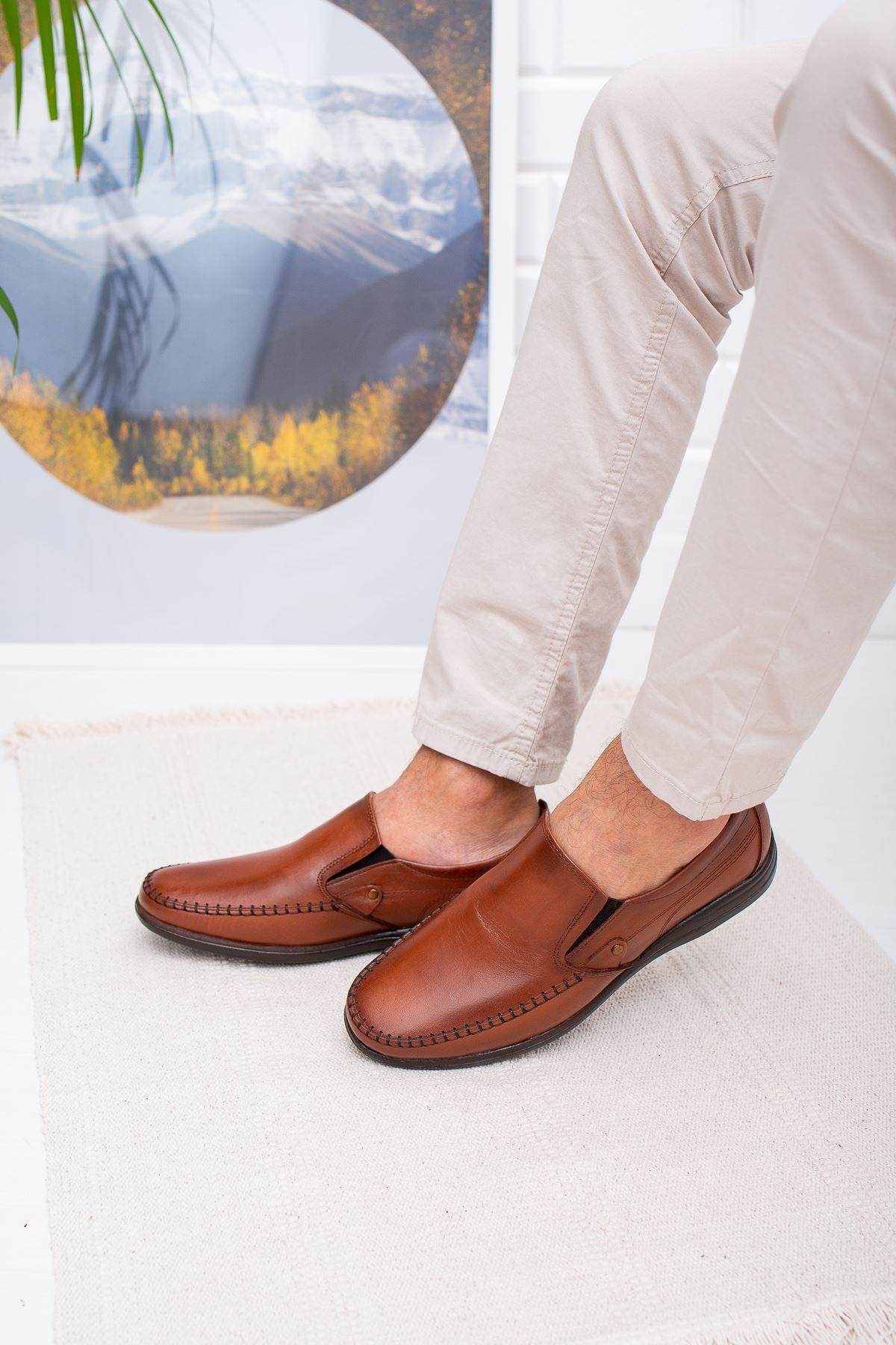 Ortopedik Pedli Kahverengi Deri Ayakkabı