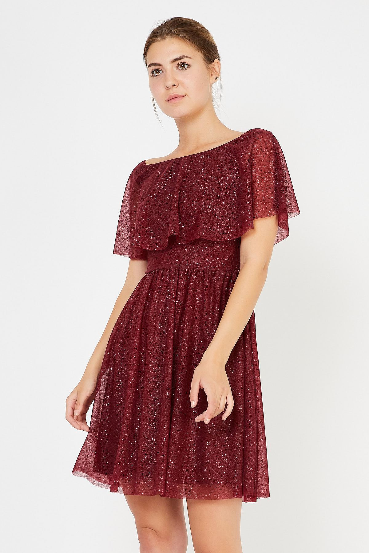 Göğüsü Volanlı Simli Tül Elbise