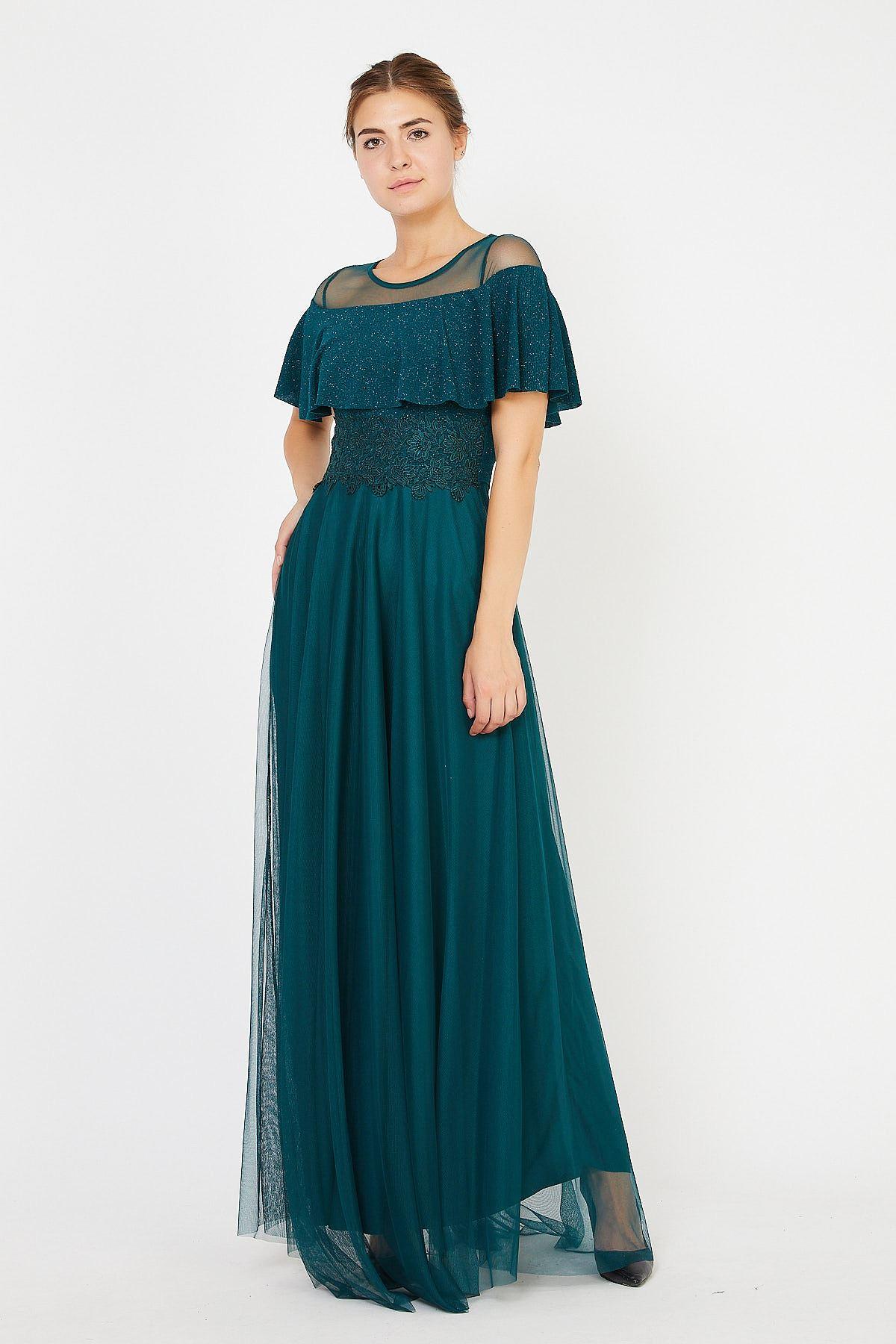 Göğsü Volanlu Tüllü Uzun Abiye Elbise