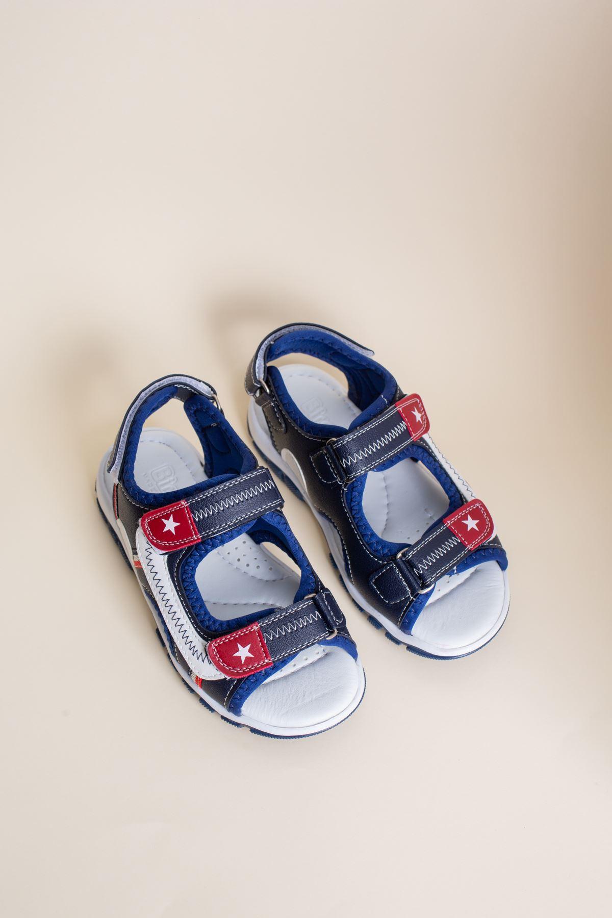 Lacivert Beyaz Garnili Çocuk Sandalet