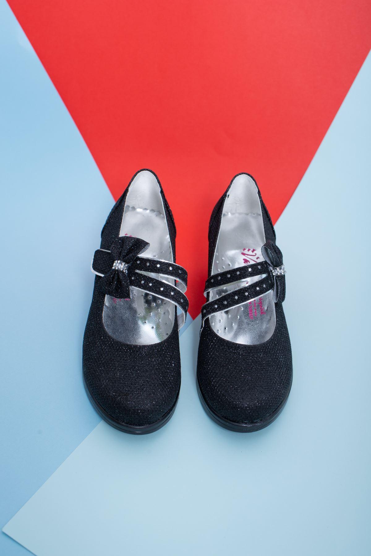 Topuklu Siyah Simli Kız Çocuk Ayakkabı