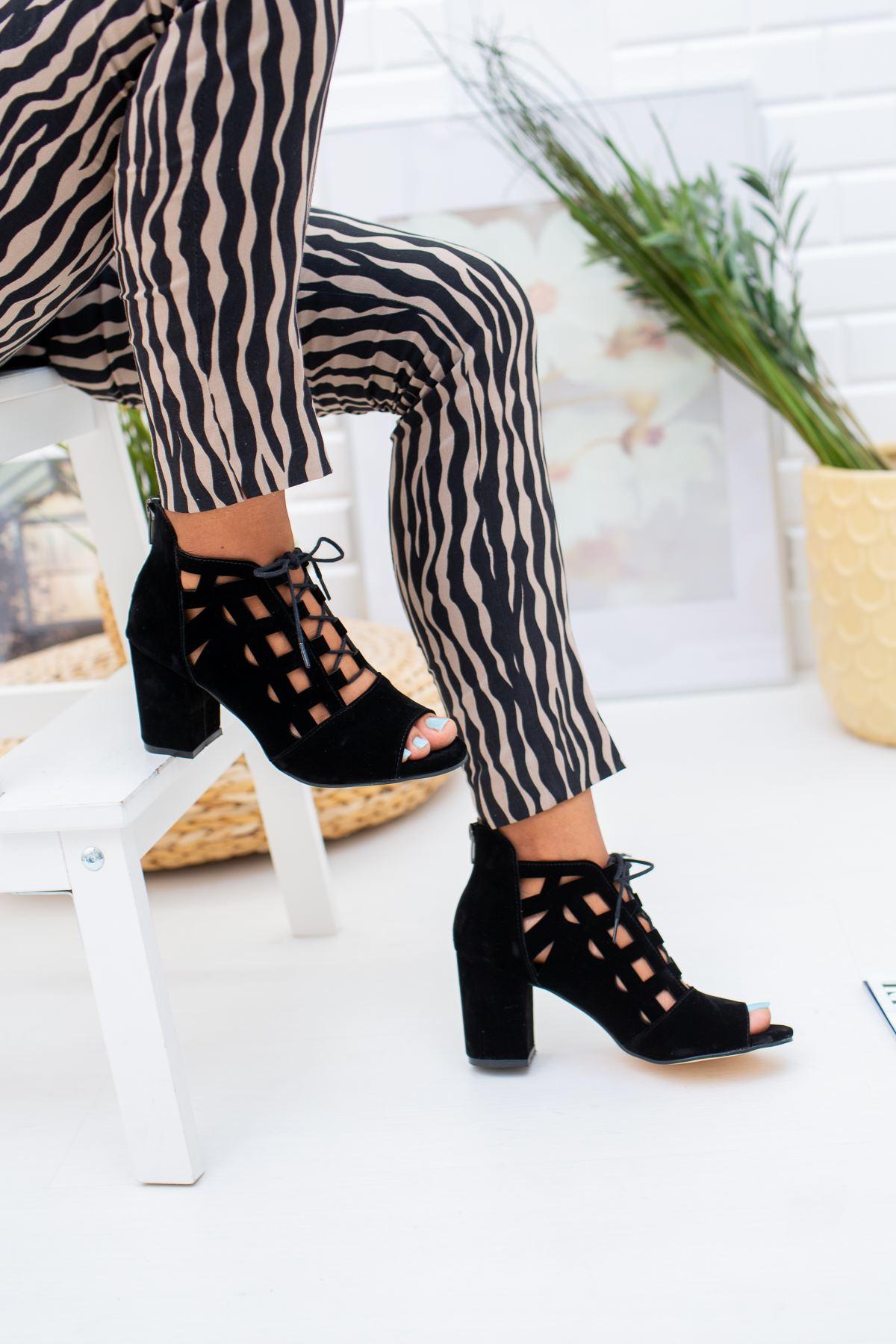 Bağcıklı Topuklu Kadın Süet Ayakkabı