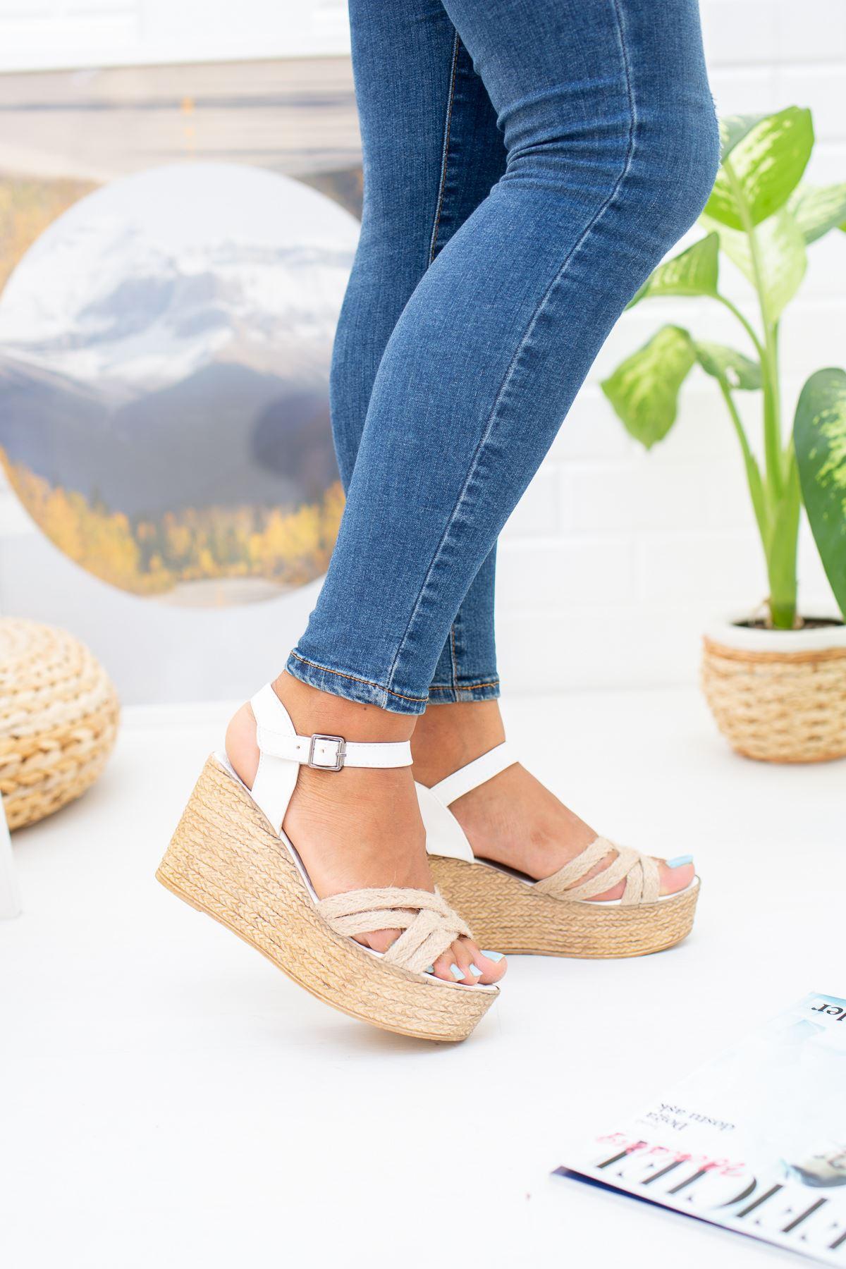 Dolgu Taban Çoklu Çapraz Hasır Sandalet