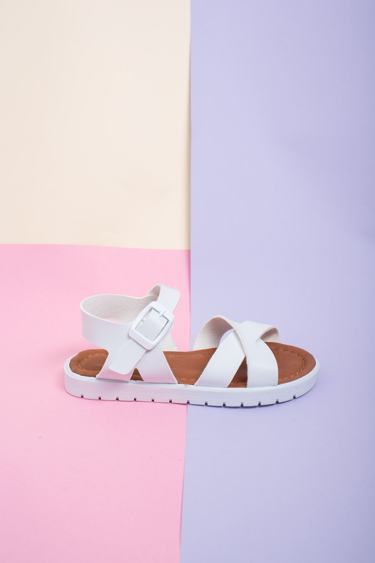 Çapraz Bant Beyaz Çocuk Sandalet