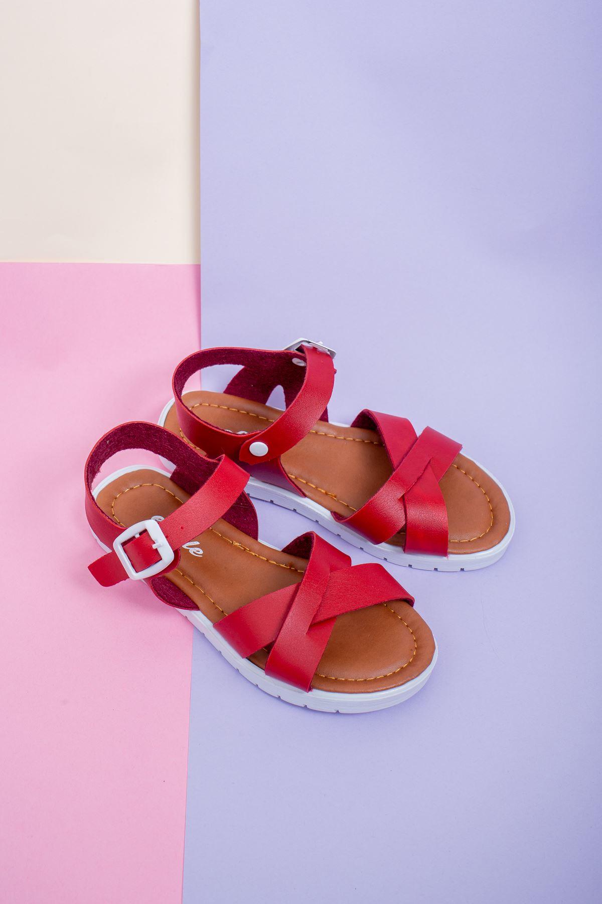 Çapraz Bant Kırmızı Çocuk Sandalet