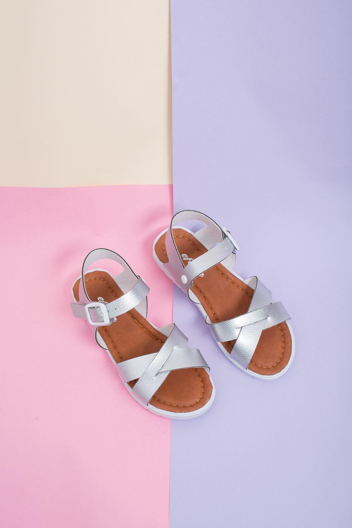 Çapraz Bant Gümüş Çocuk Sandalet