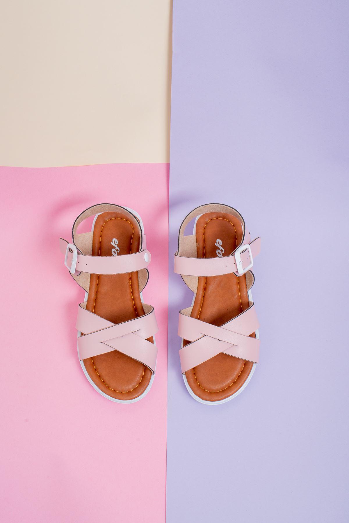 Çapraz Bant Pudra Çocuk Sandalet