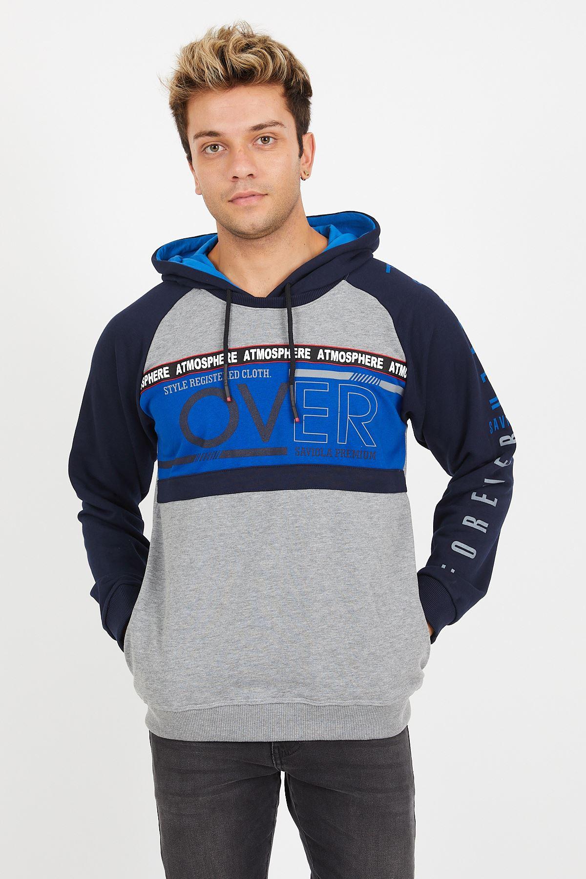 Kapşonlu Baskılı Sweatshirt