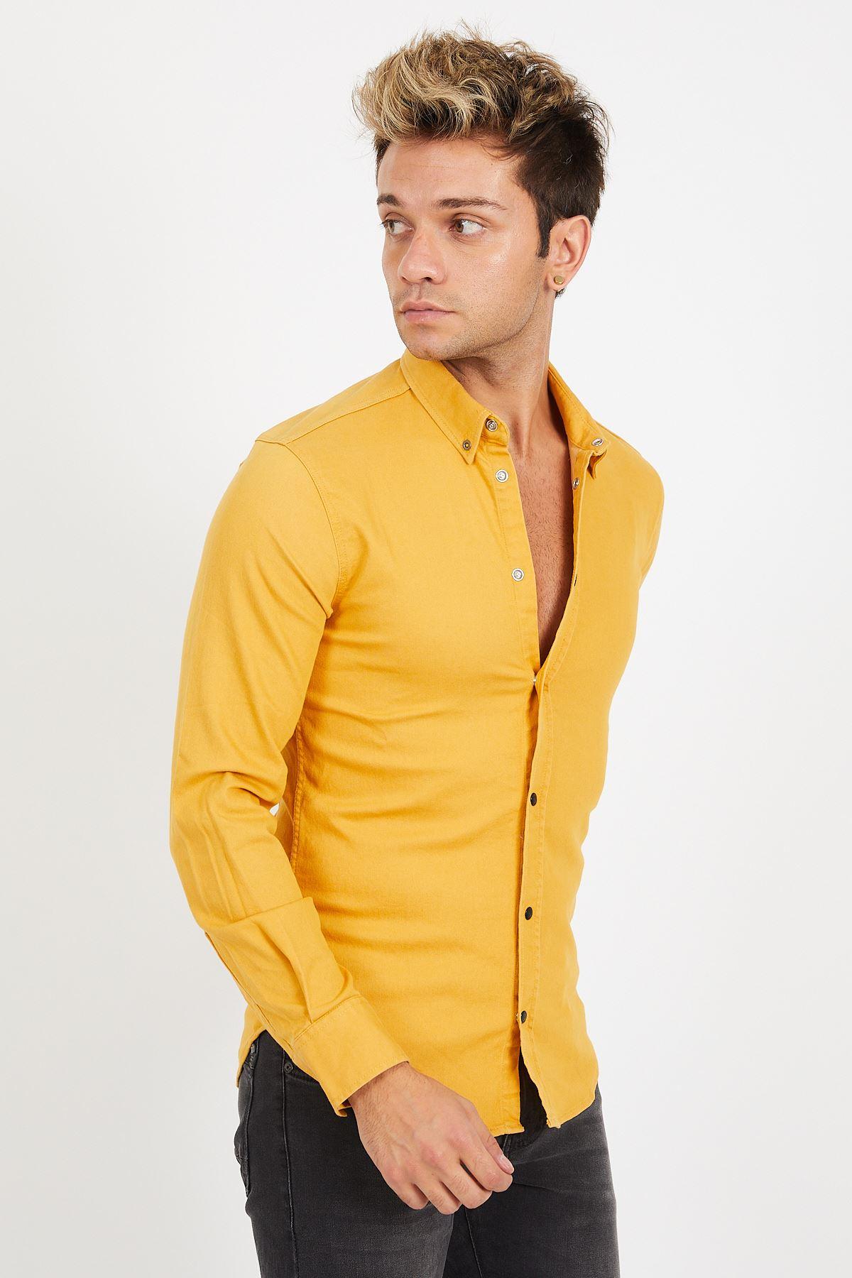 Sarı Erkek Gömlek