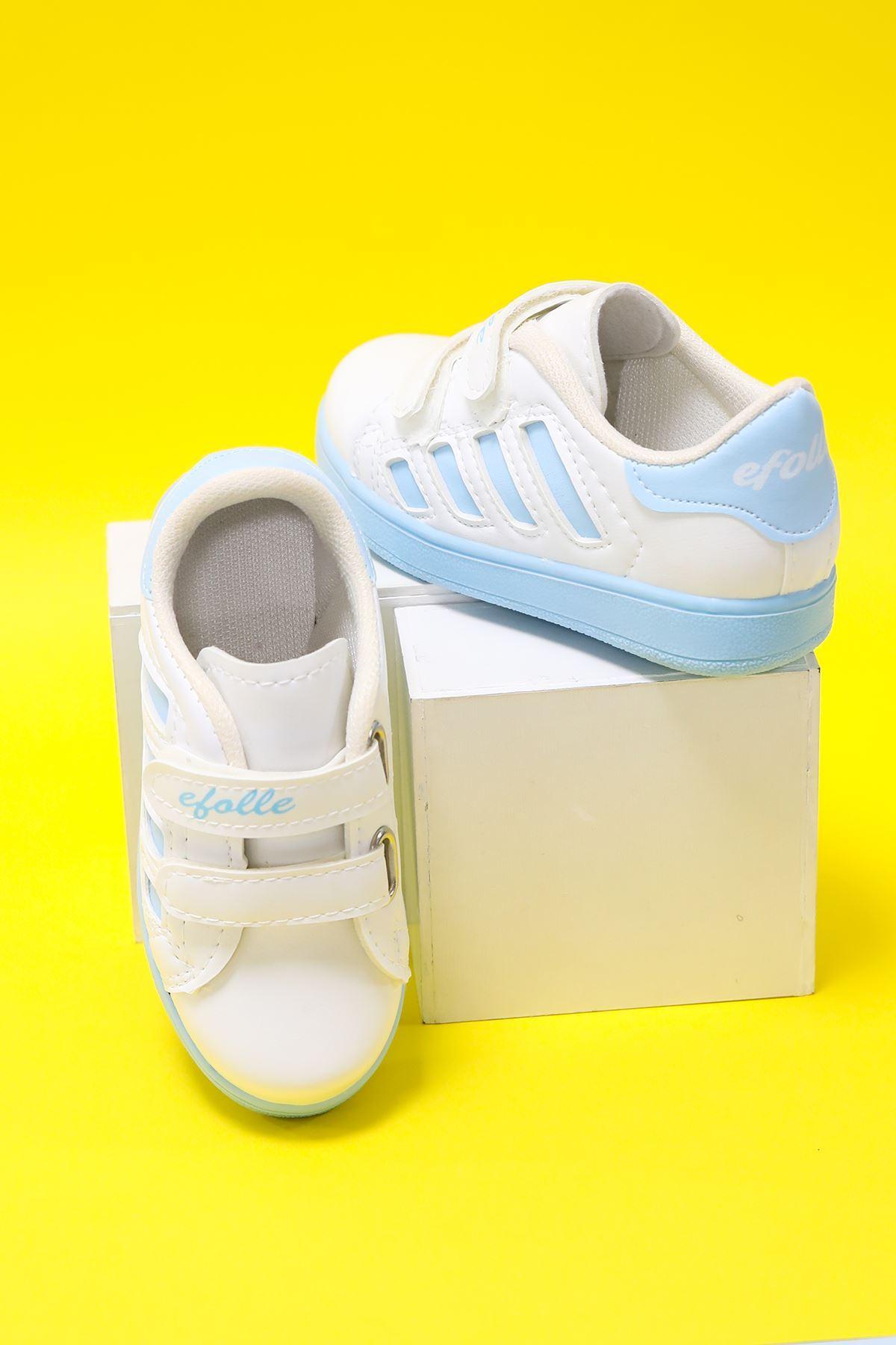 Beyaz Yanı Mavi Şeritli Çocuk Ayakkabı
