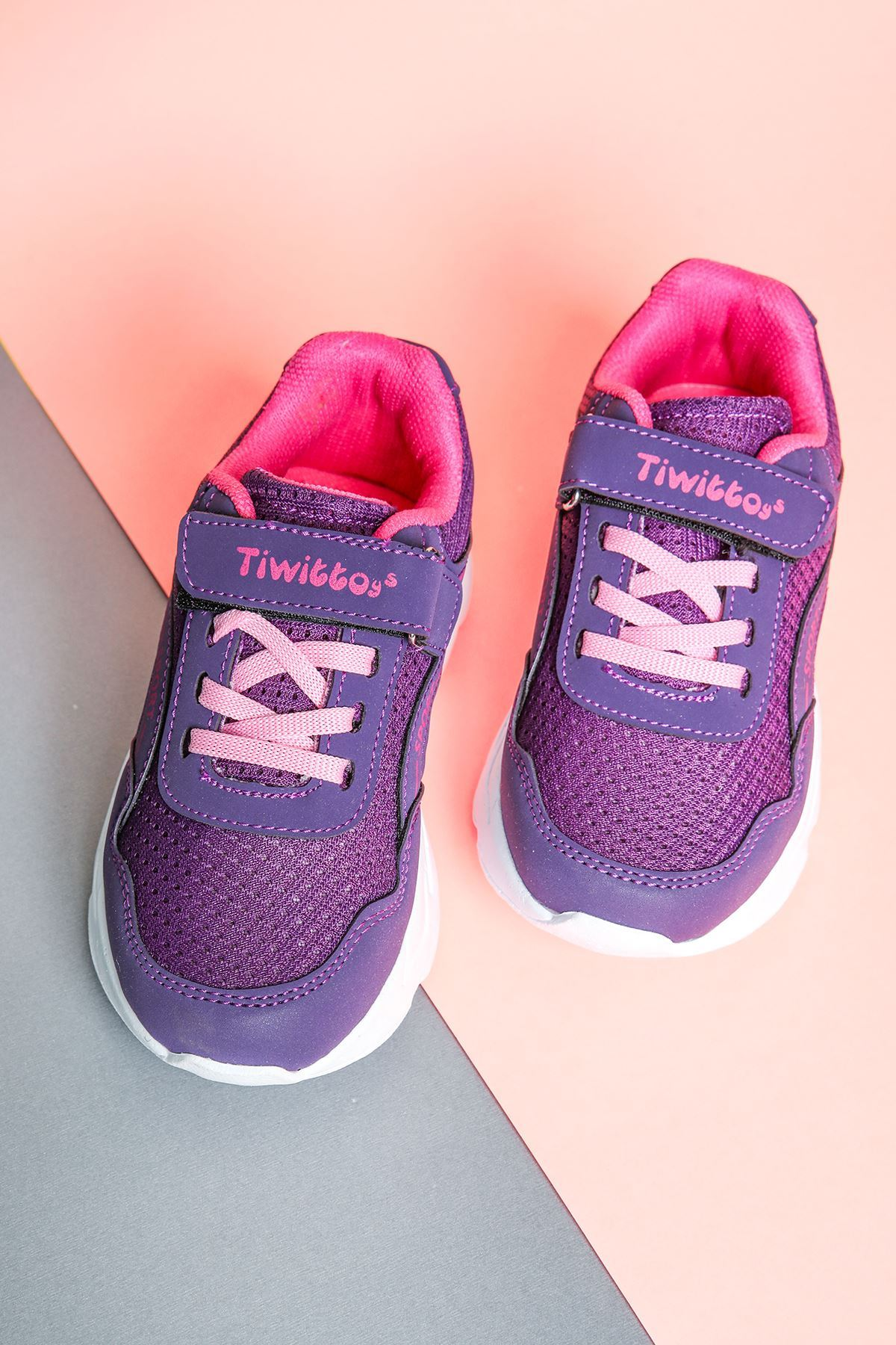 Pembe Bağcıklı Mor Çocuk Spor Ayakkabı