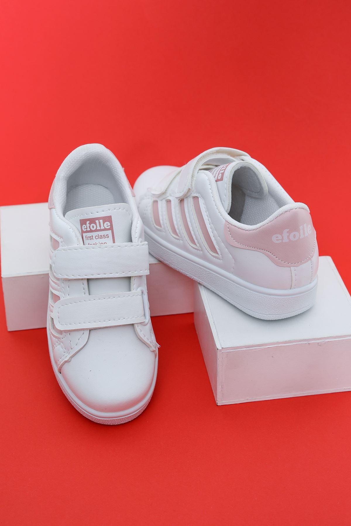 Beyaz Yanı Pembe Şeritli Çocuk Ayakkabı