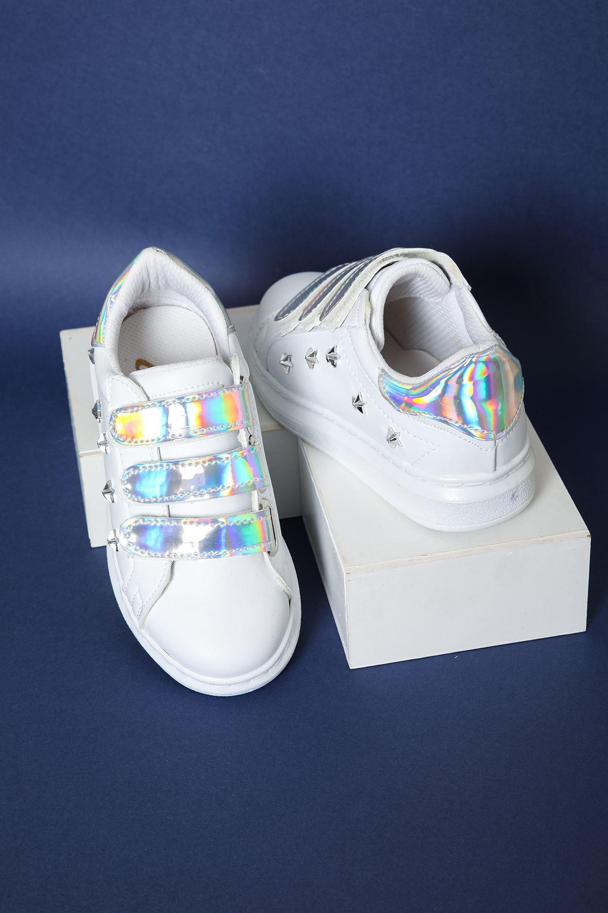Gümüş Rengi Cırtlı Beyaz Çocuk Spor Ayakkabı