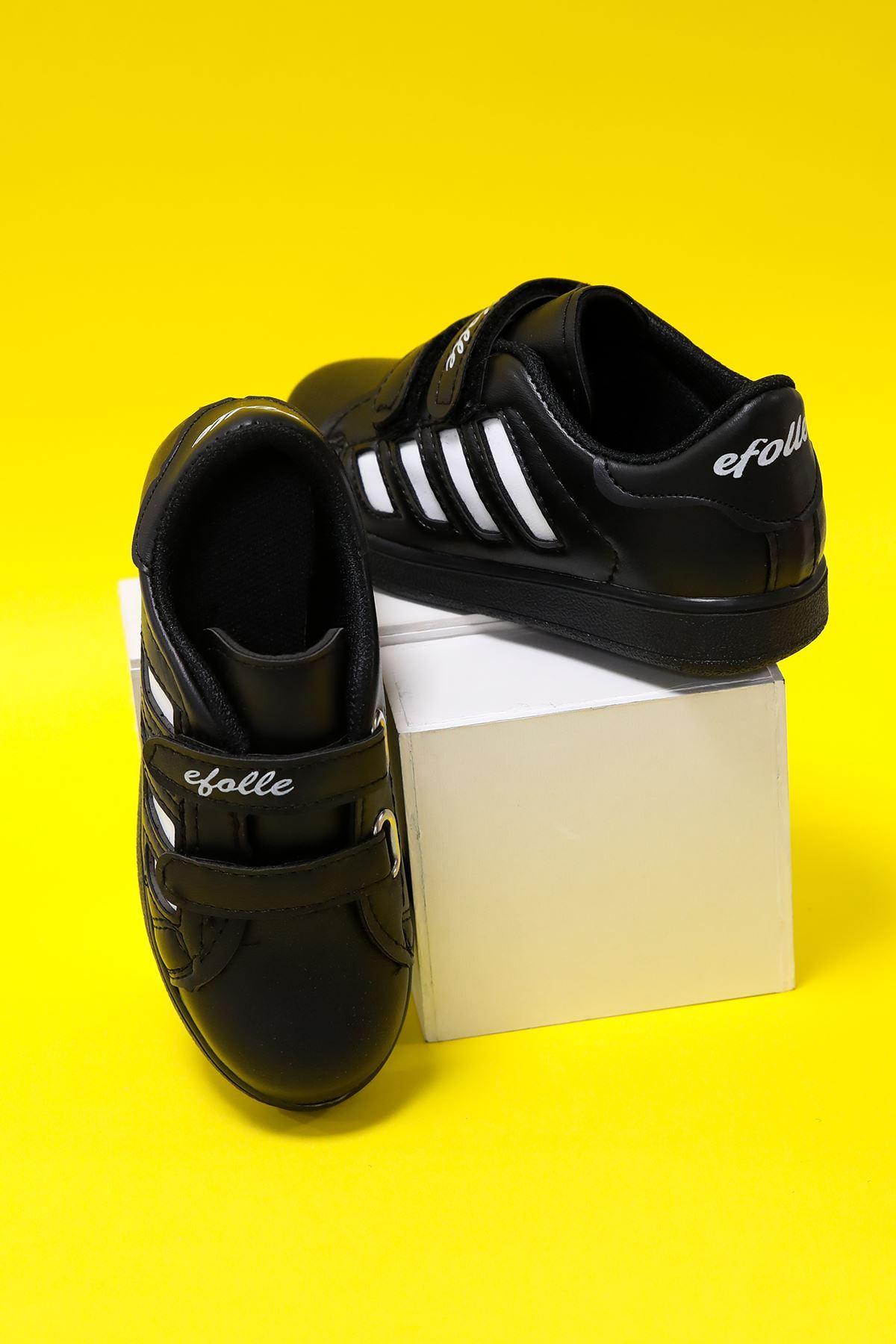 Düz Siyah Yanı Beyaz Şeritli Çocuk Ayakkabı